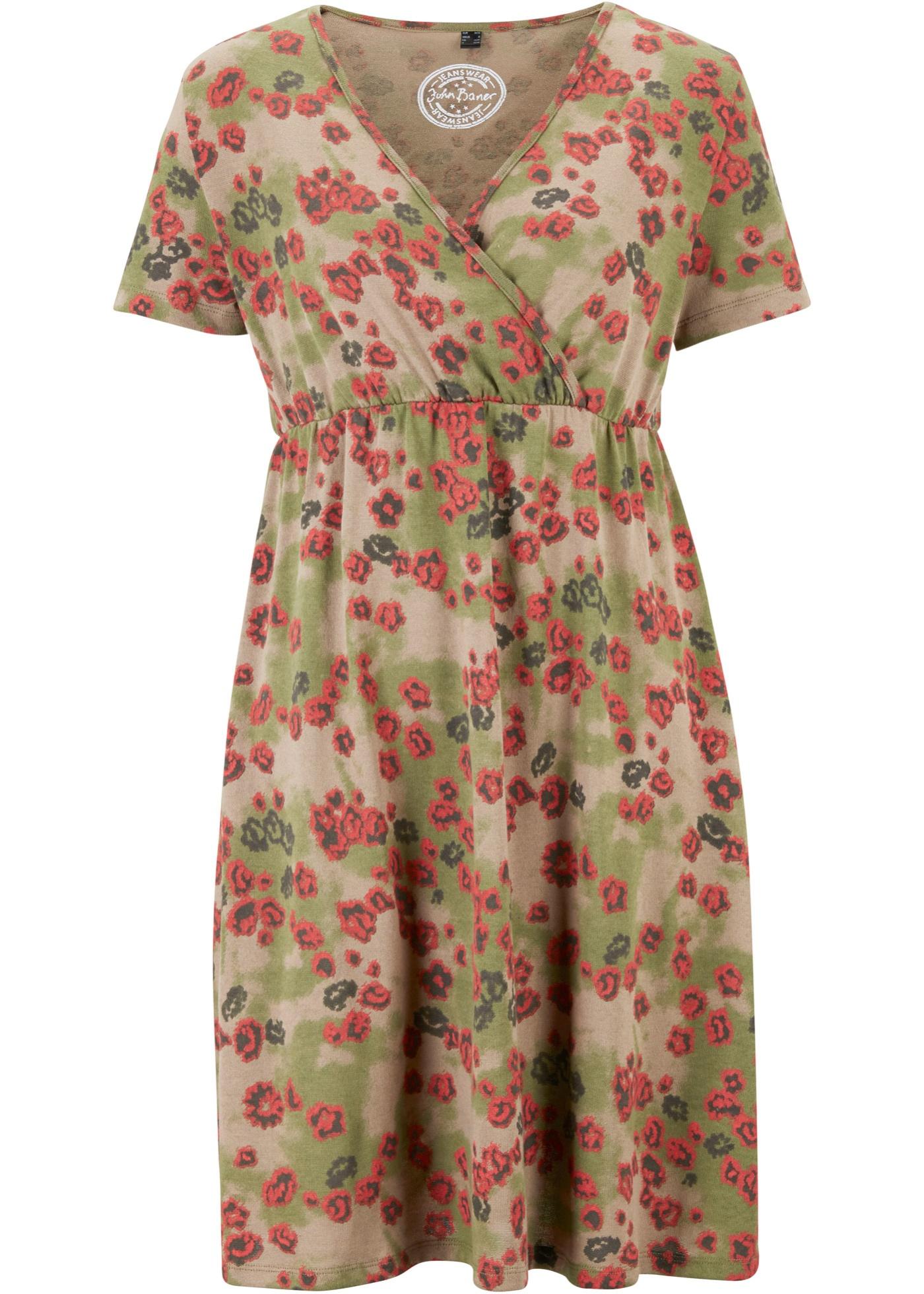 Shirtkleid, bedruckt, 3/4 Arm in grün für Damen von bonprix