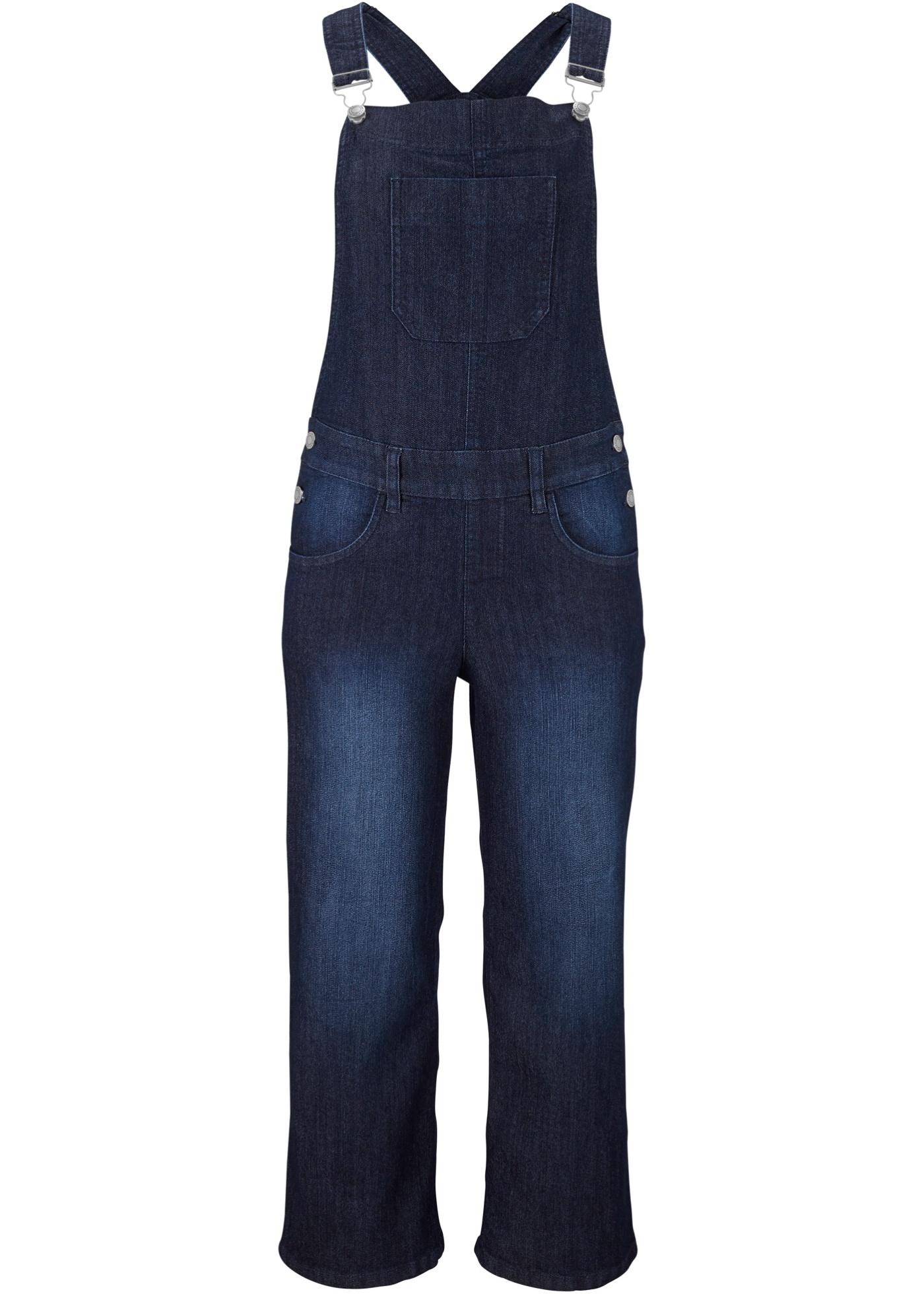Hosen - Komfort Stretch Jeans Latzhose, Wide › bonprix › blau  - Onlineshop Bonprix