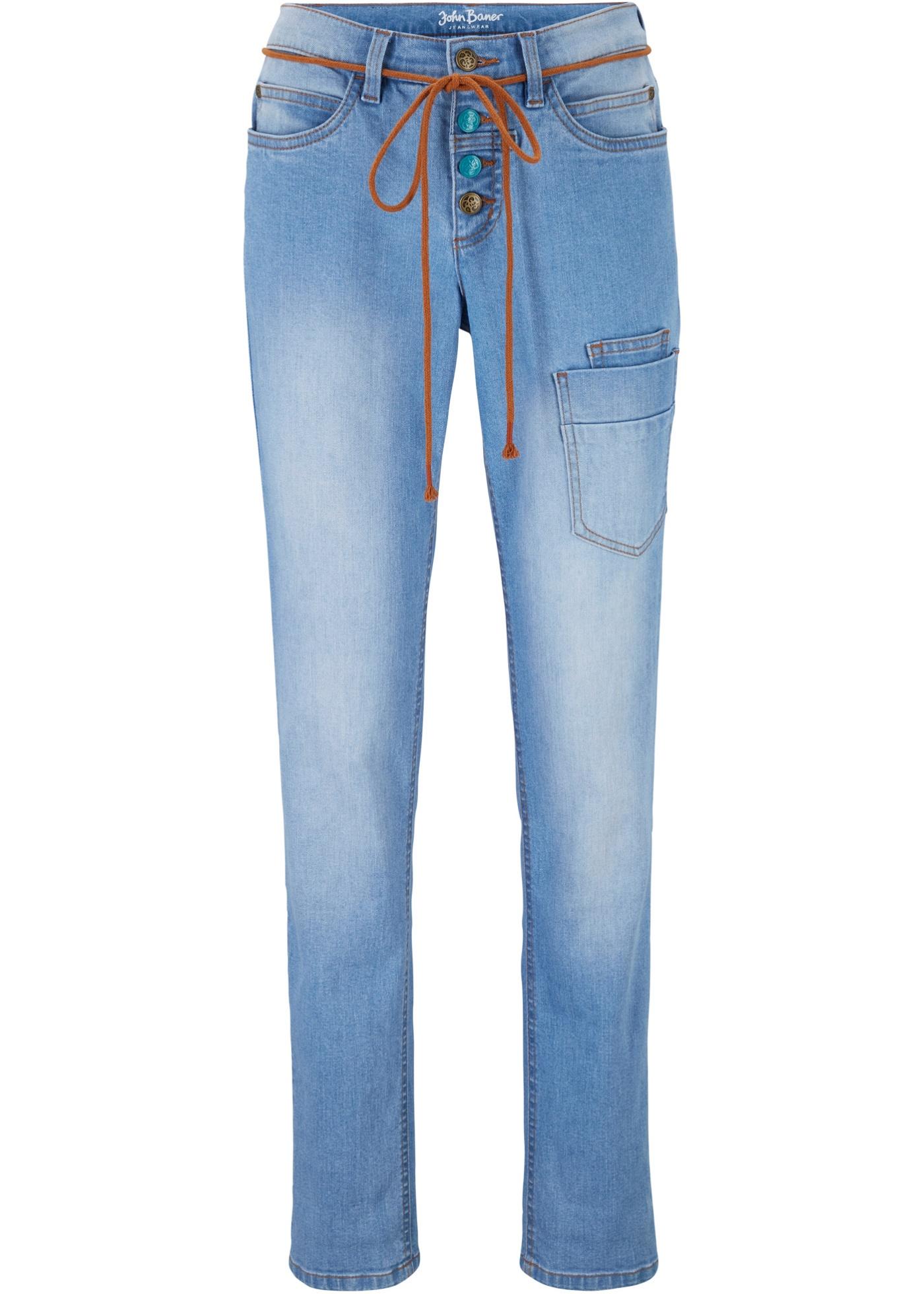 Hosen - Stretch Cargo Jeans, Straight › bonprix › blau  - Onlineshop Bonprix