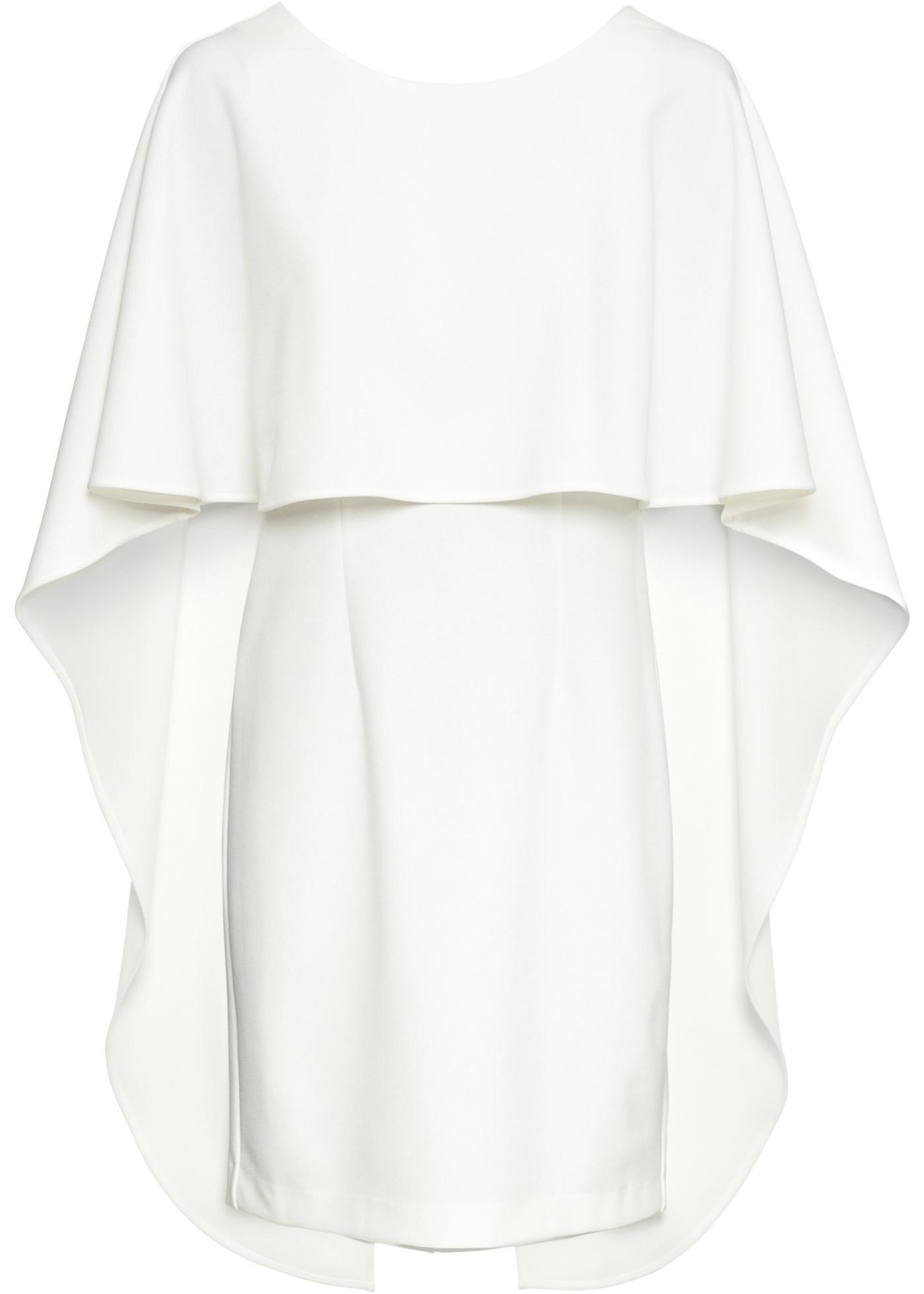 Cape-Kleid ohne Ärmel  in weiß (Rundhals) für Damen von bonprix