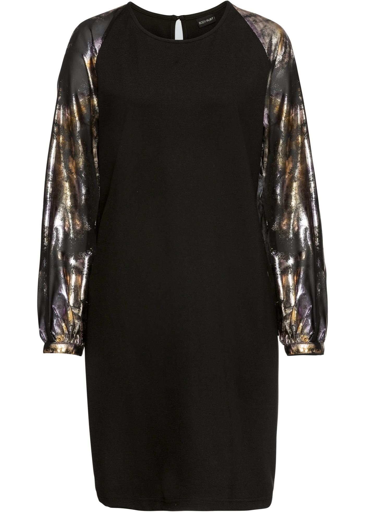 Kleid mit Ballonärmeln langarm  in schwarz für Damen von bonprix