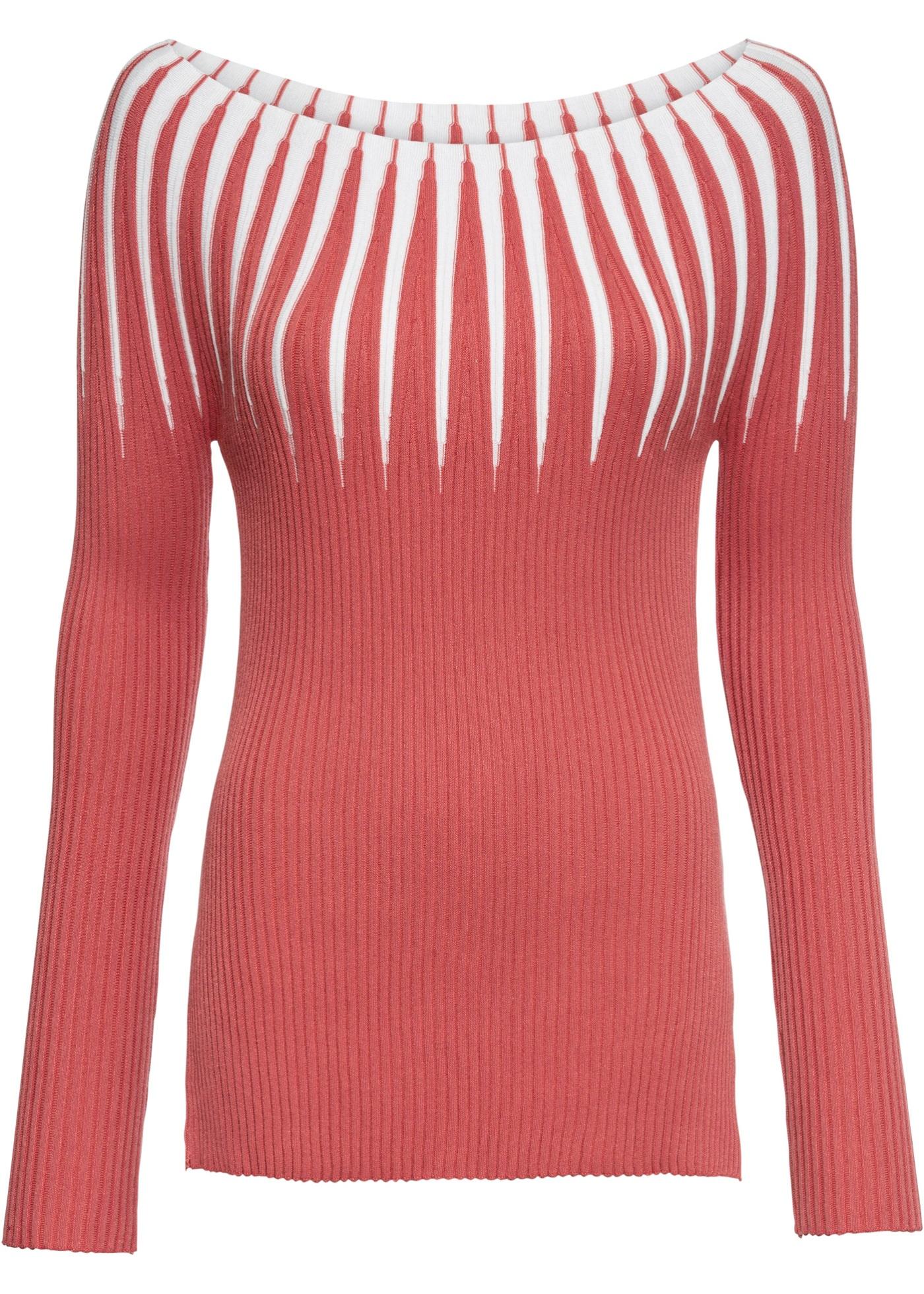 Pullover langarm  in rosa (U-Boot-Ausschnitt) für Damen von bonprix