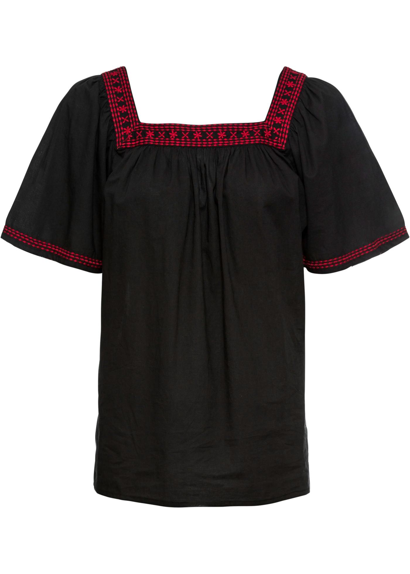 Bluse mit Stickerei kurzer Arm  in schwarz für Damen von bonprix