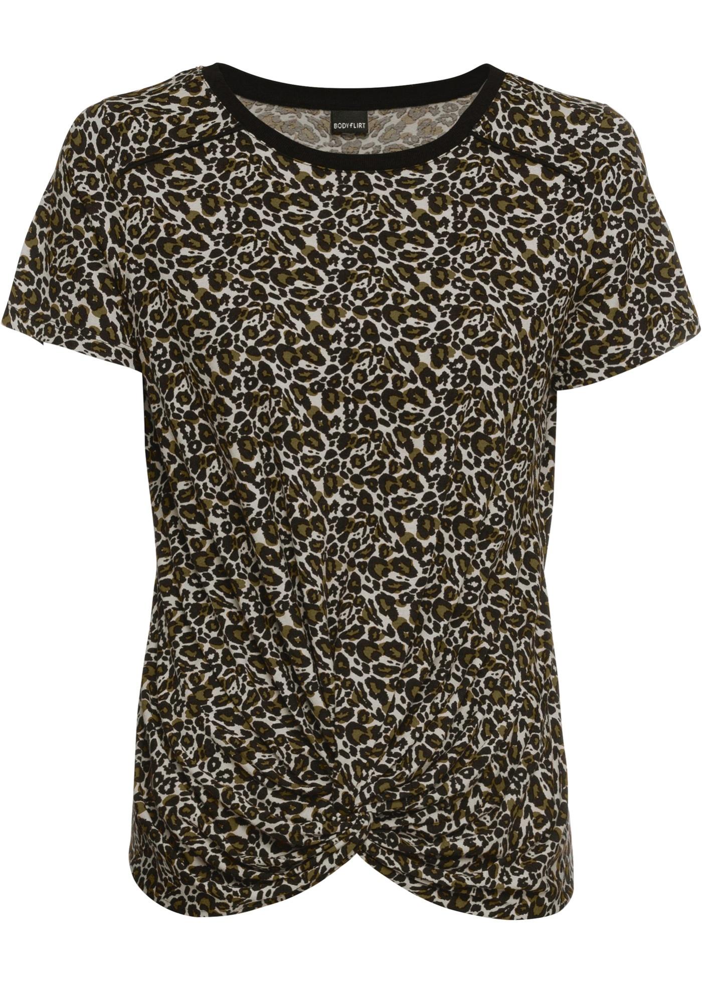 Shirt, Leo kurzer Arm  in grün (Rundhals) für Damen von bonprix