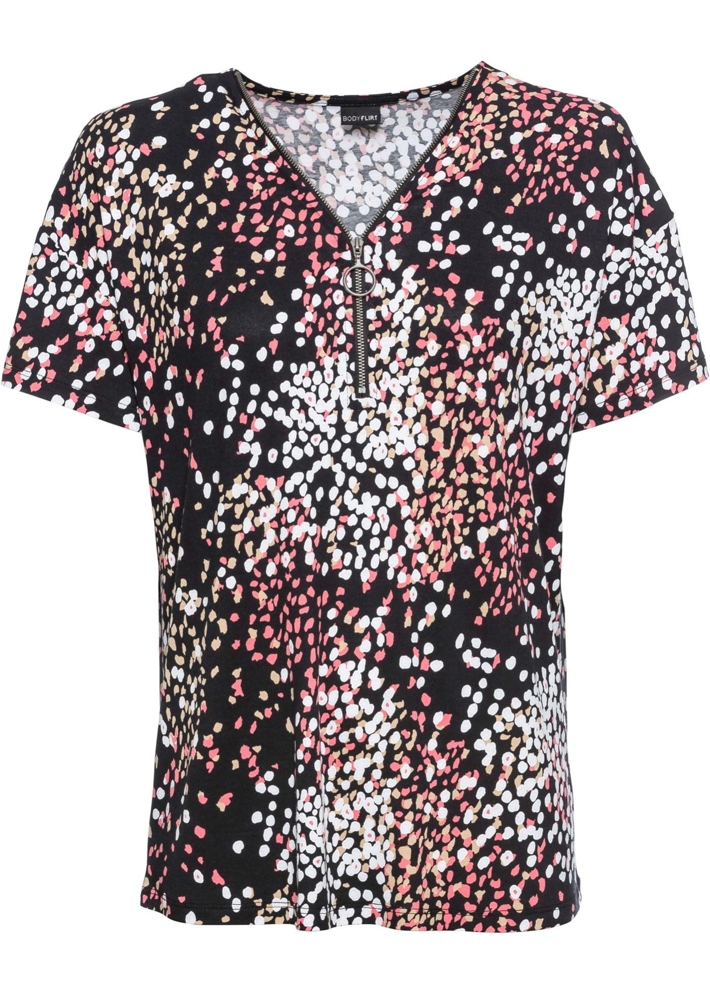 bedrucktes Shirt mit Zipper 3/4 Arm  in schwarz für Damen von bonprix