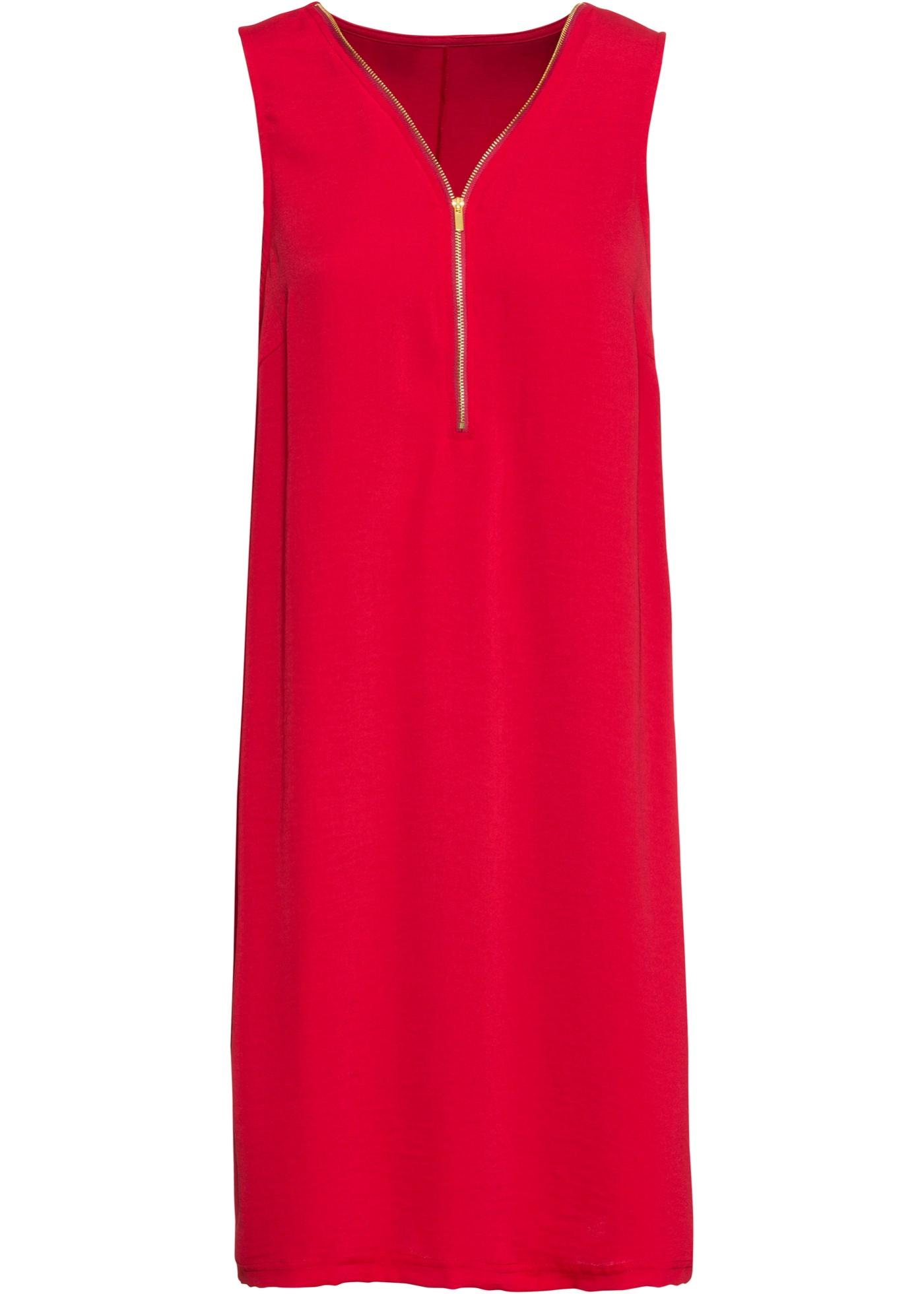 Jerseykleid mit Zipper ohne Ärmel  in rot für Damen von bonprix