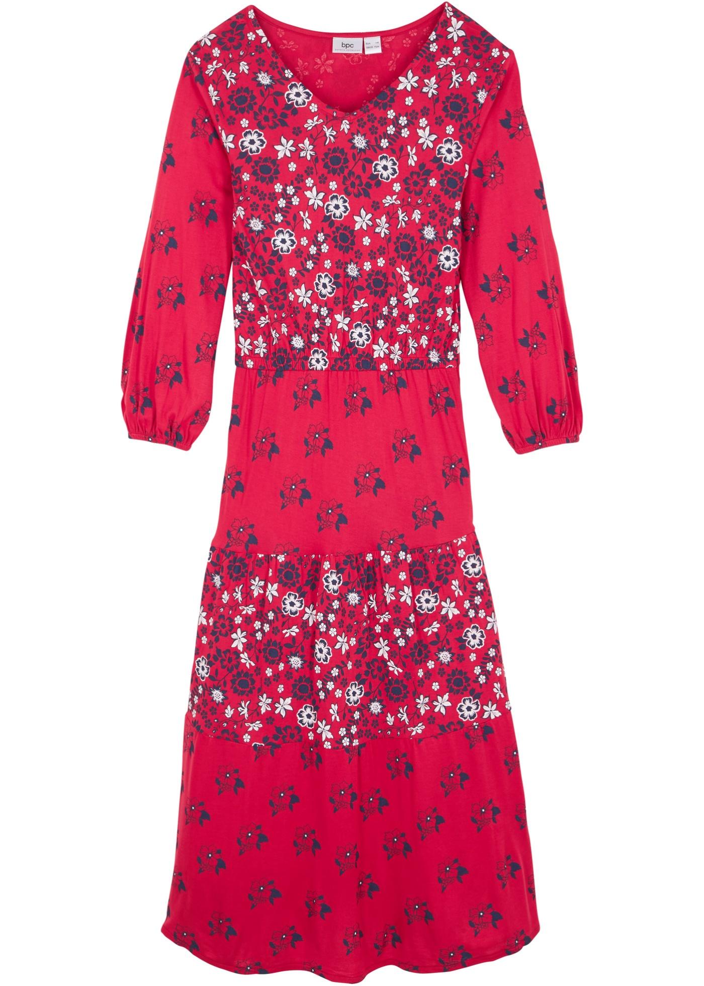 Mädchen Volant-Maxikleid, patchwork langarm  in rot für Mädchen von bonprix