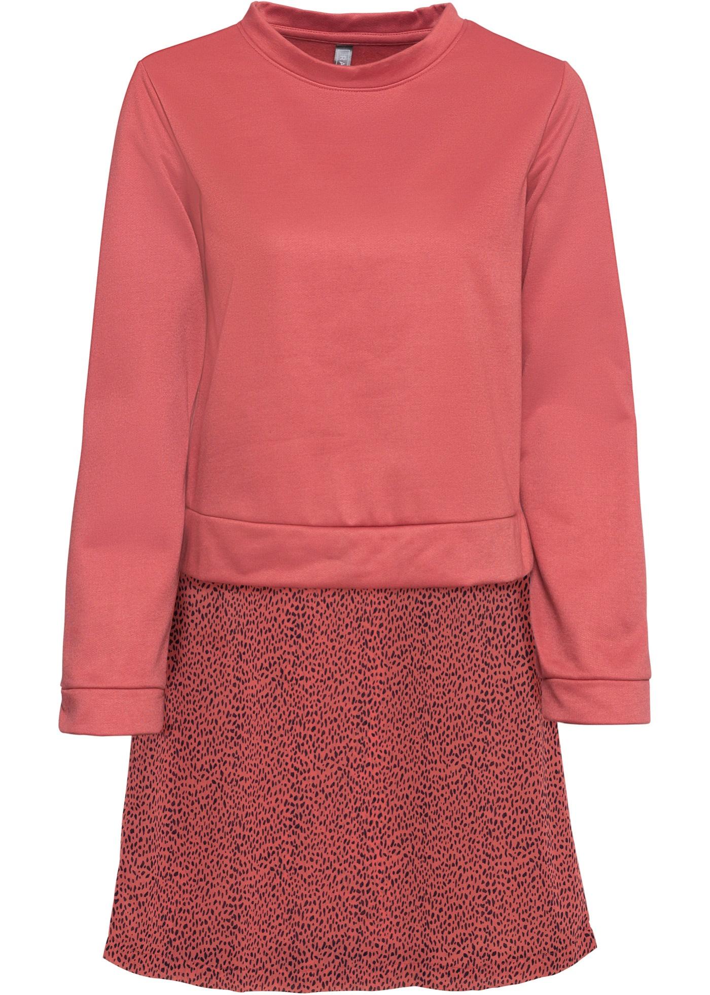 Sweatshirt mit Rockteil langarm  in rosa für Damen von bonprix