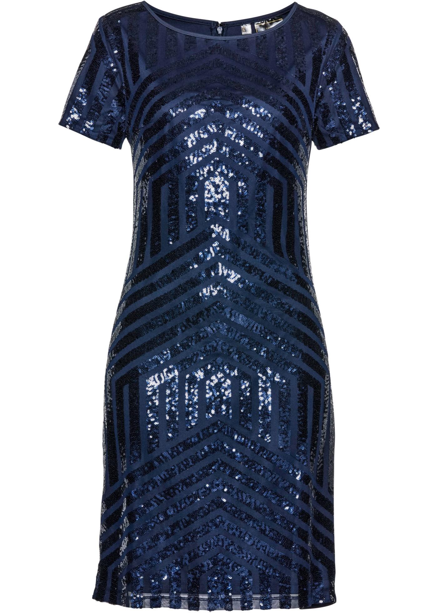 Paillettenkleid kurzer Arm  in blau für Damen von bonprix