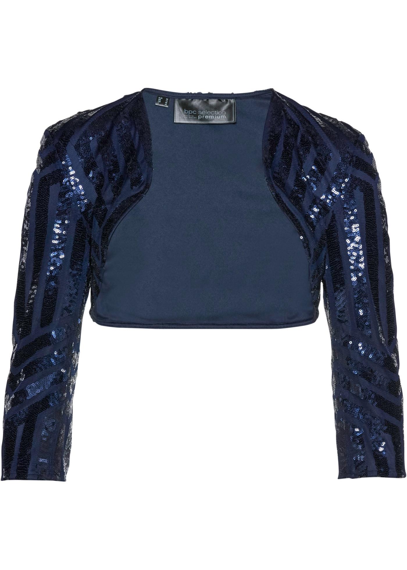 Bolero mit Pailletten 3/4 Arm  in blau für Damen von bonprix