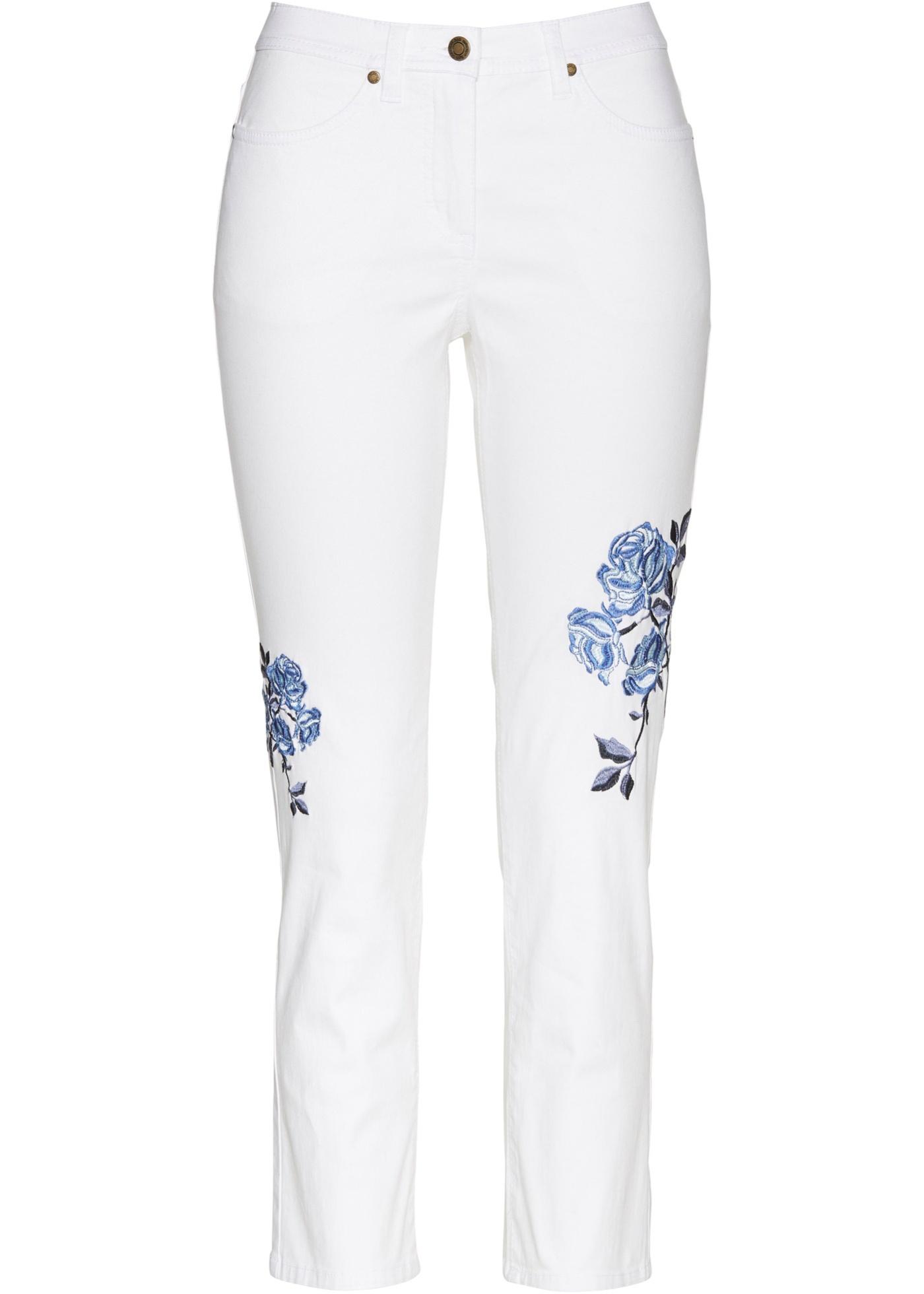 7/8-Jeans mit Stickerei in weiß für Damen von bonprix