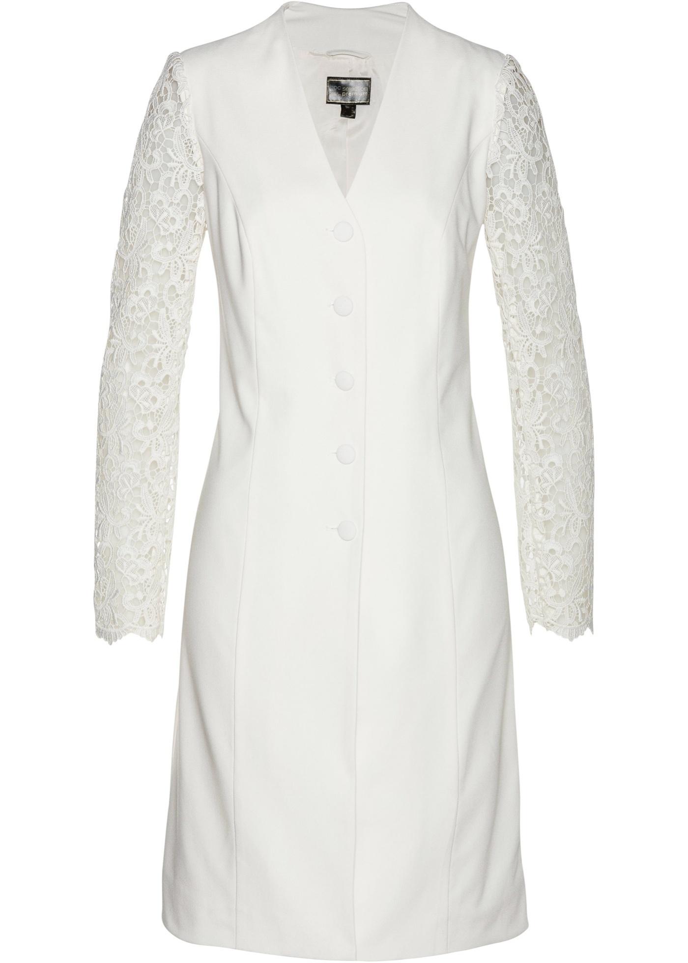 Longblazer mit Spitze langarm  in weiß für Damen von bonprix