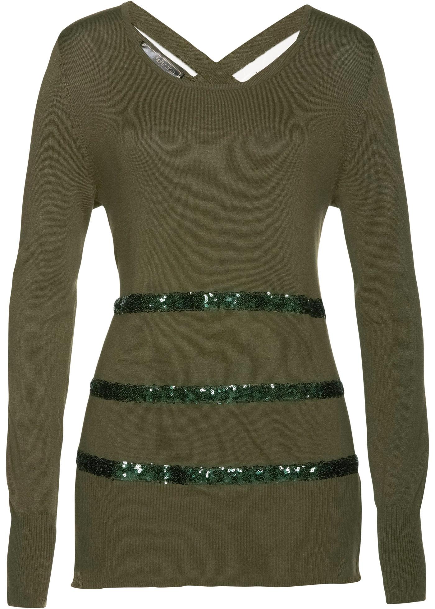 Pullover langarm  in grün (Rundhals) für Damen von bonprix