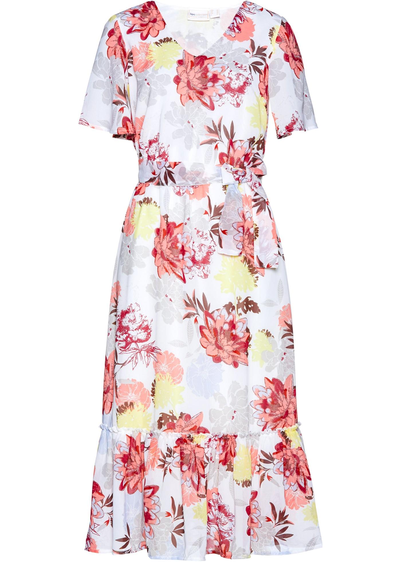 Kleid Flügelärmel  in weiß (V-Ausschnitt) für Damen von bonprix