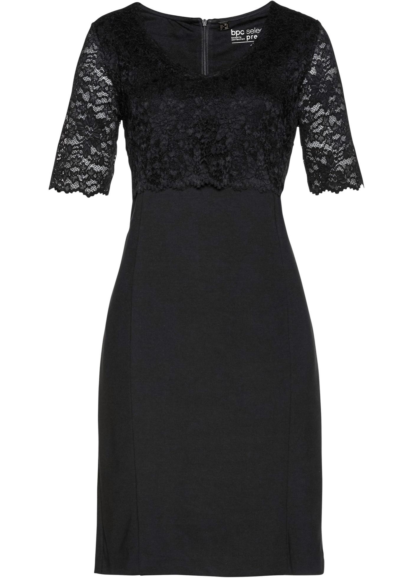 Kleid mit Spitze halber Arm  in schwarz für Damen von bonprix