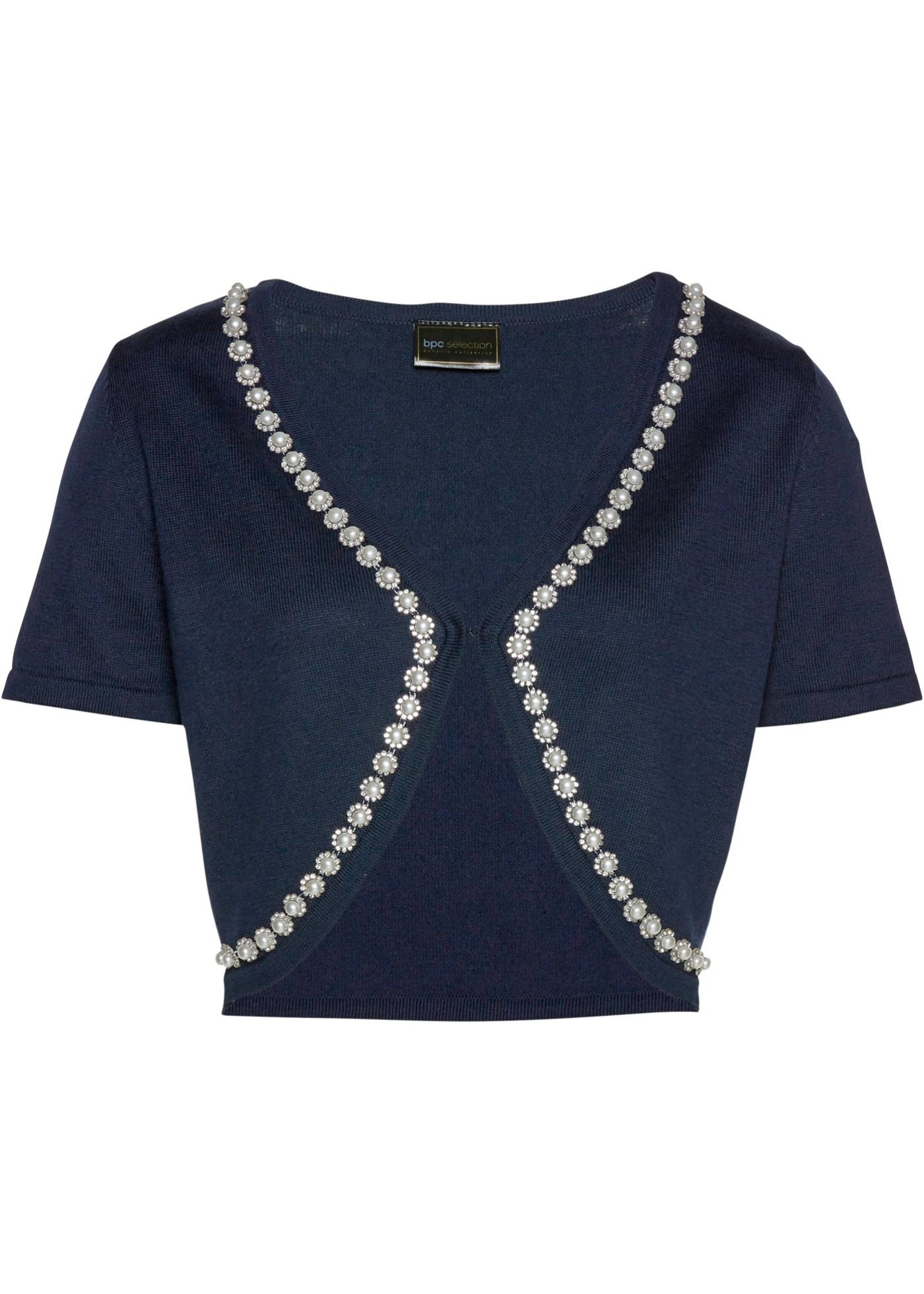 Bolero mit Glitzersteinen kurzer Arm  in blau für Damen von bonprix