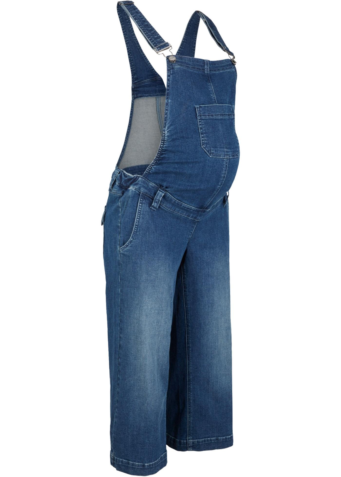 Umstandsjeans-Latzculotte in blau für Damen von bonprix