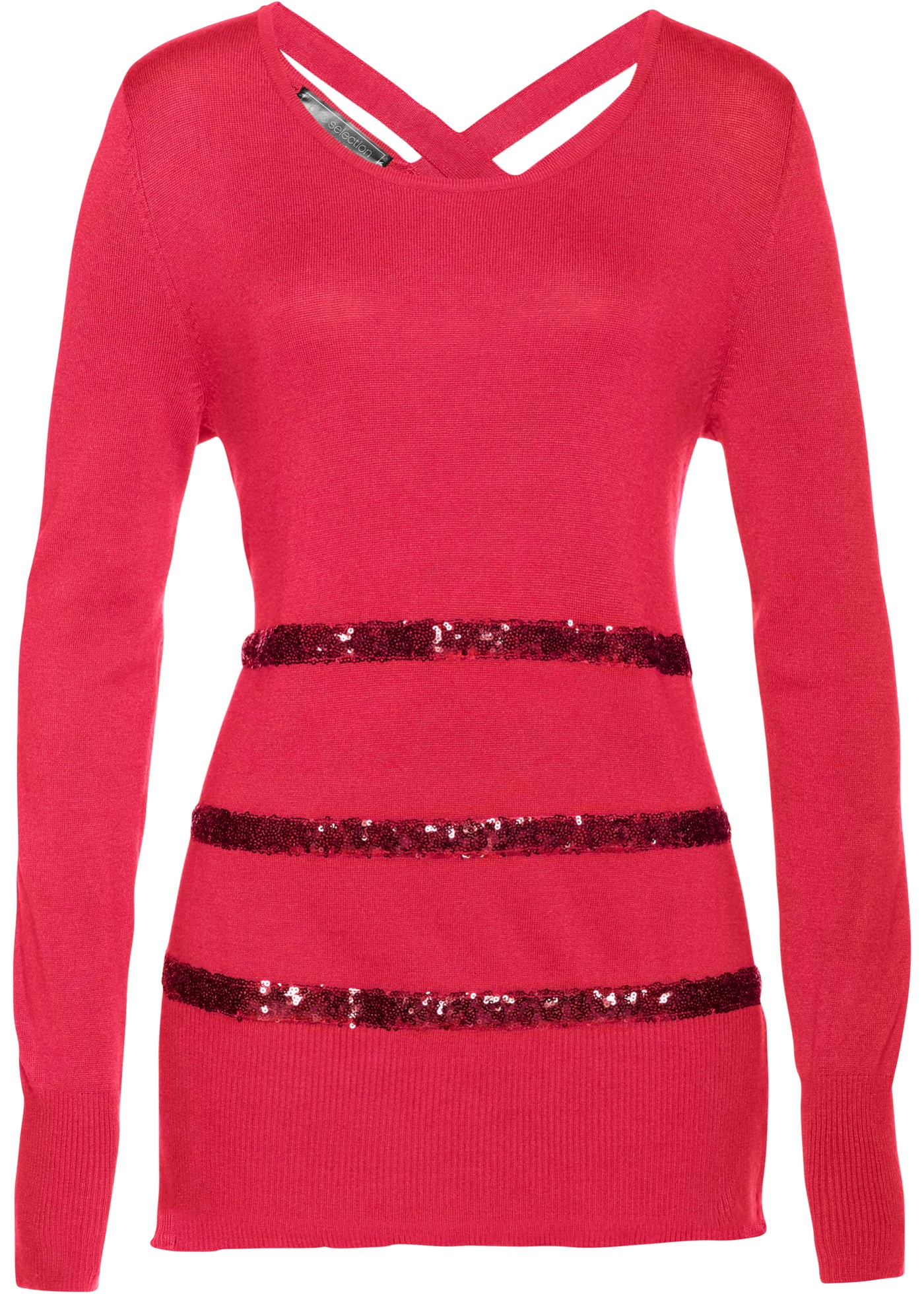 Pullover langarm  in pink (Rundhals) für Damen von bonprix