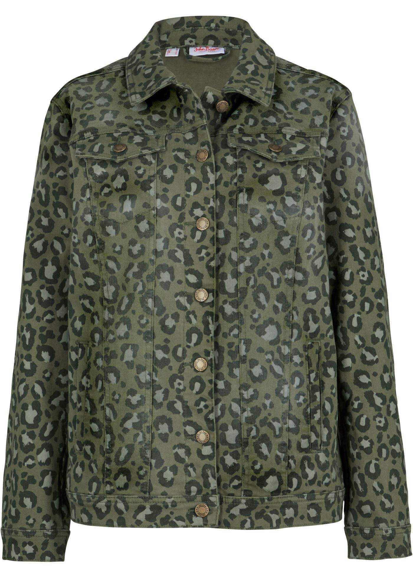 Stretch-Jeansjacke, bedruckt langarm  in grün für Damen von bonprix