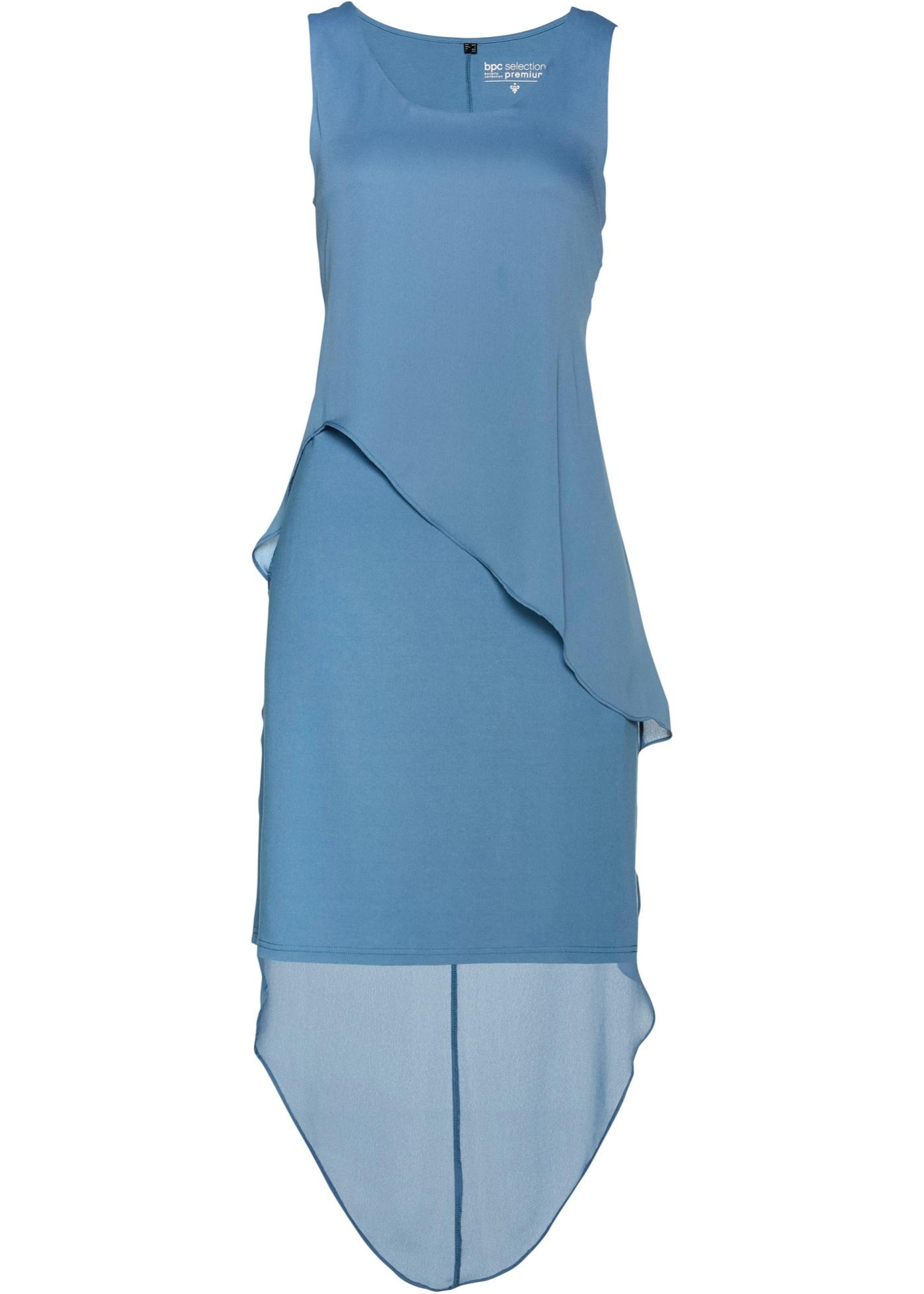 Puntokleid ohne Ärmel  in blau (Rundhals) für Damen von bonprix