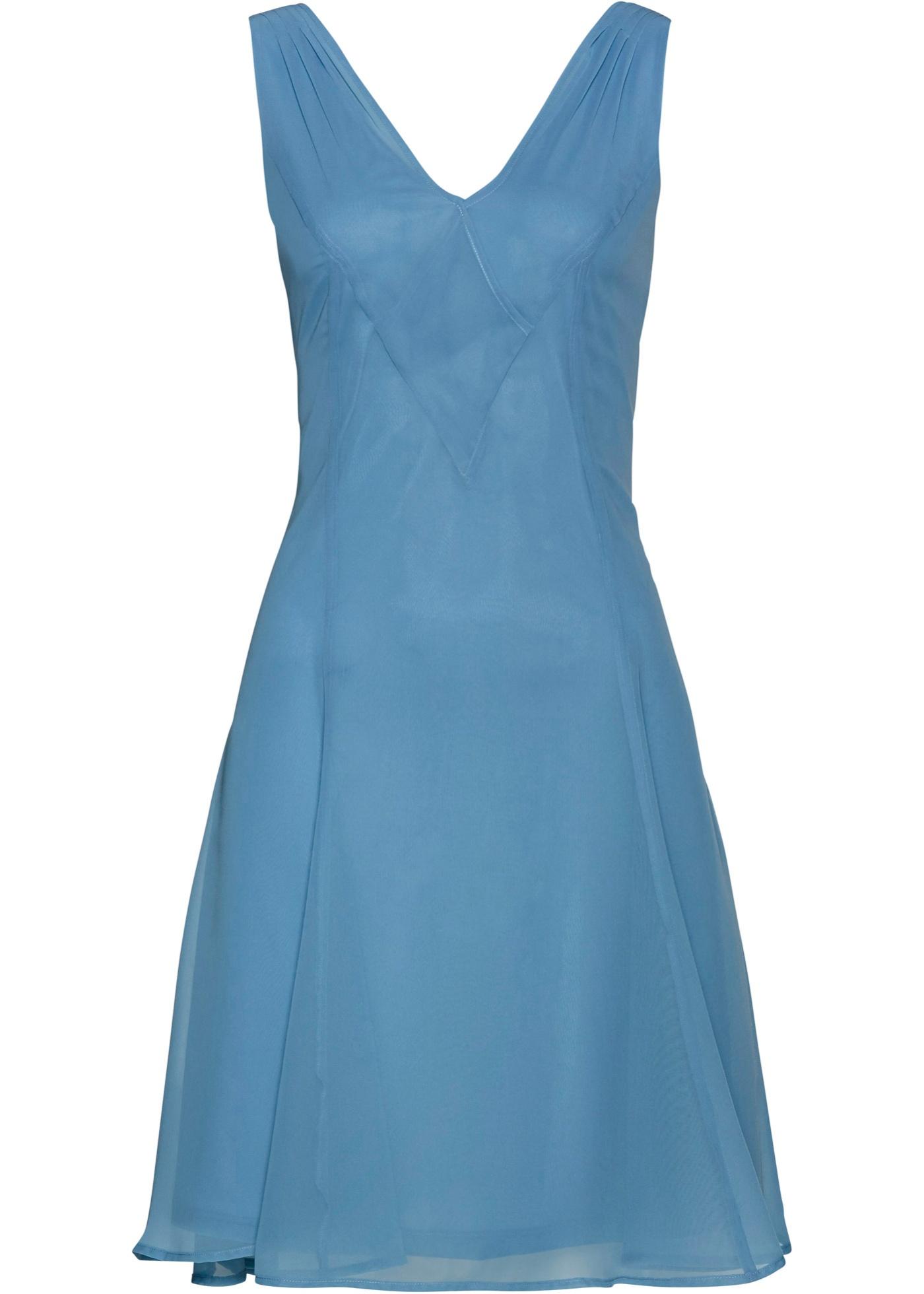 Chiffonkleid ohne Ärmel  in blau für Damen von bonprix