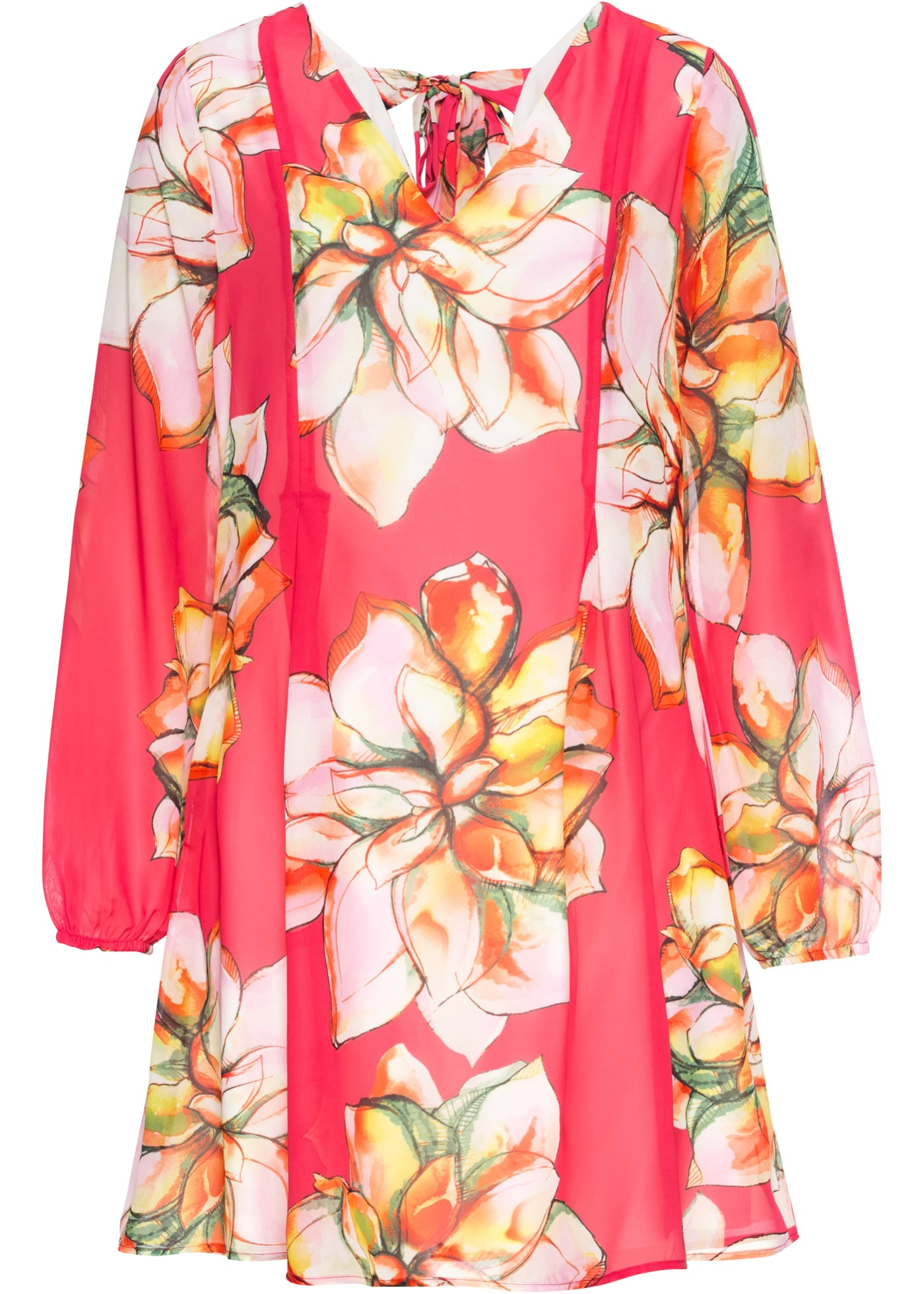 Kleid mit Chiffon langarm  in orange für Damen von bonprix