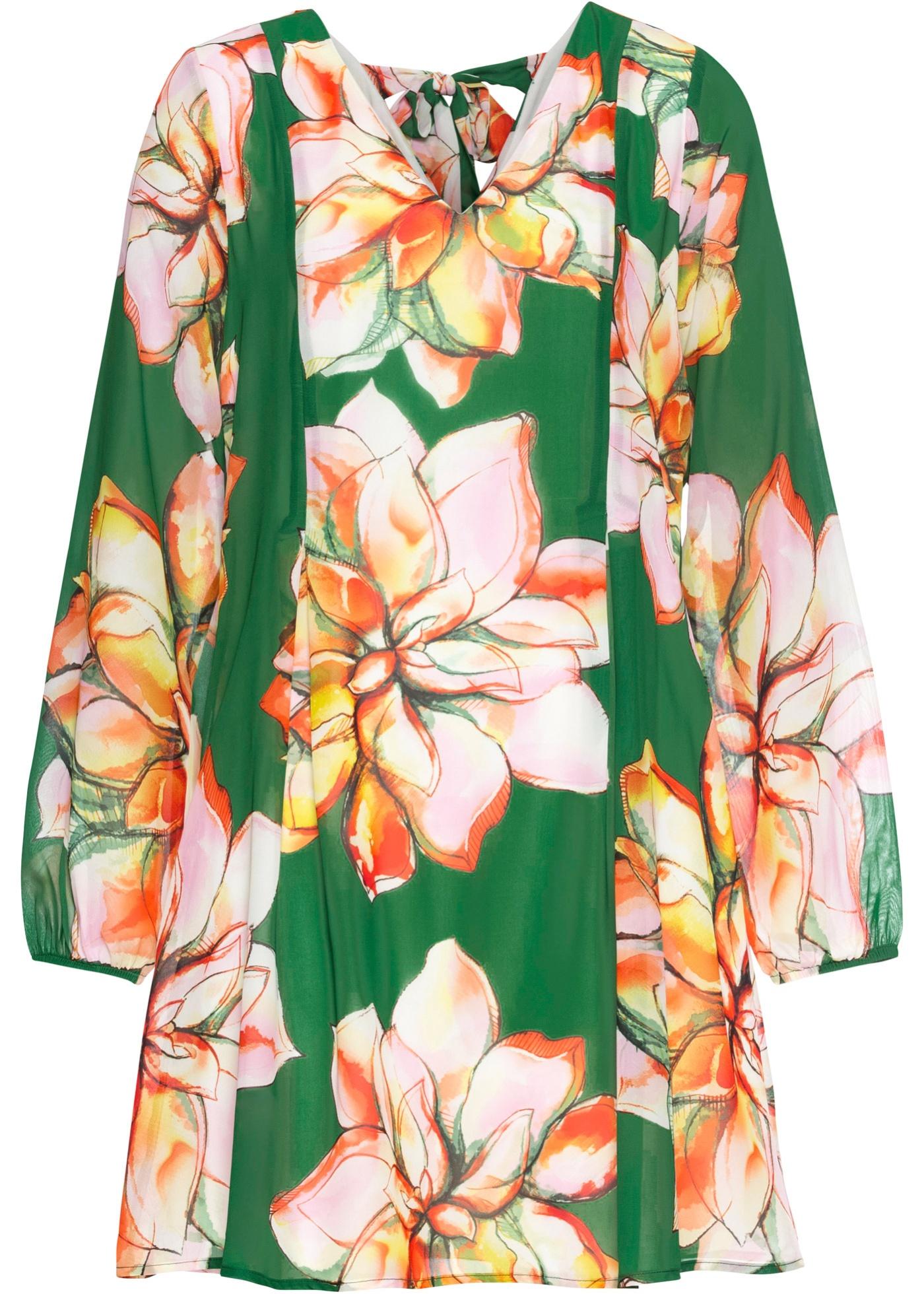 Kleid mit Chiffon langarm  in grün für Damen von bonprix