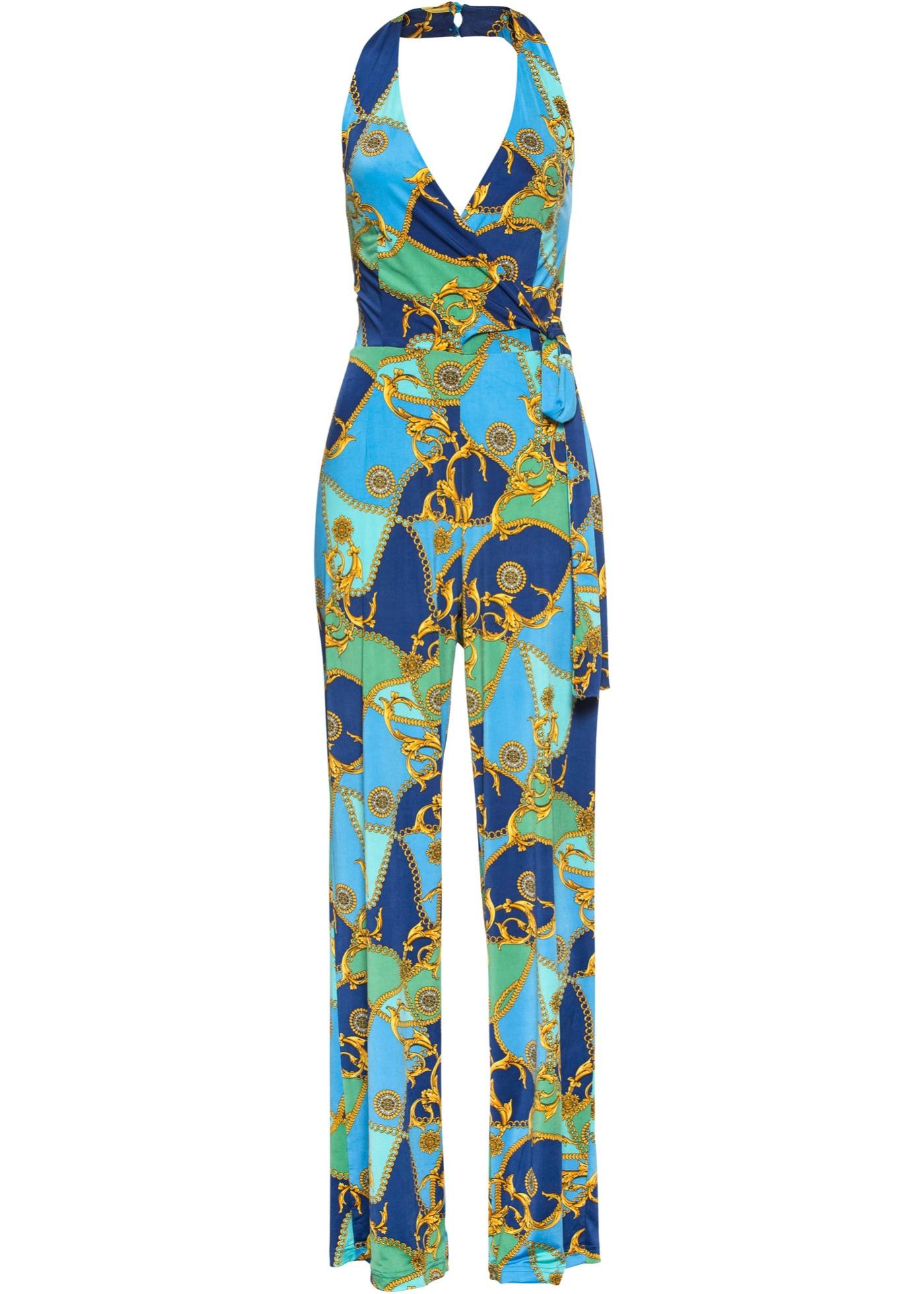 Neckholder-Jumpsuit mit Print ohne Ärmel  in blau für Damen von bonprix