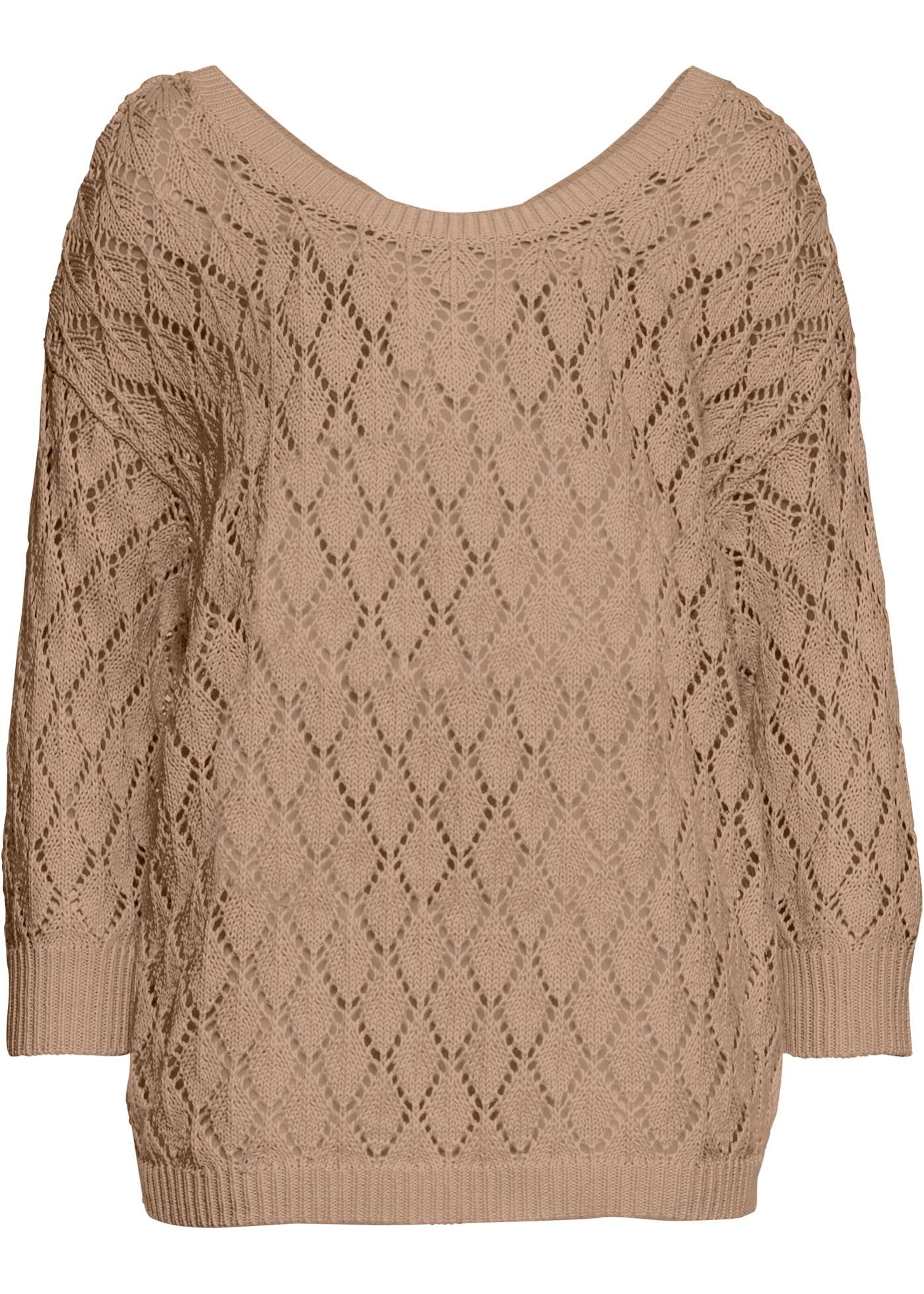 Ajour-Pullover 3/4 Arm  in braun für Damen von bonprix