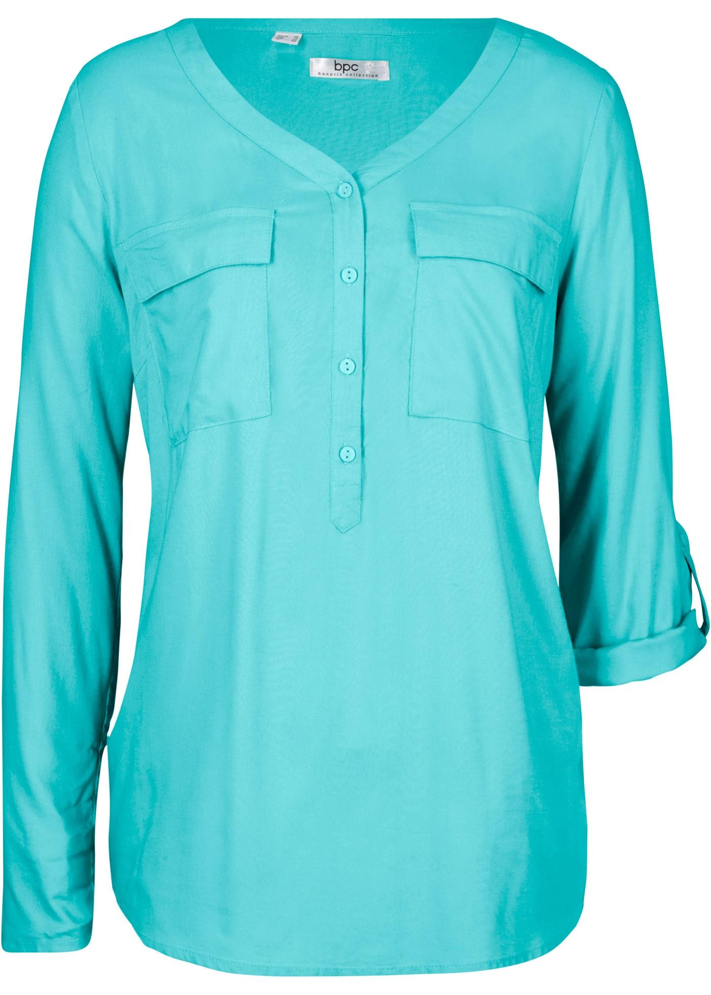 Viskose-Bluse mit V-Ausschnitt, Langarm in blau für Damen von bonprix