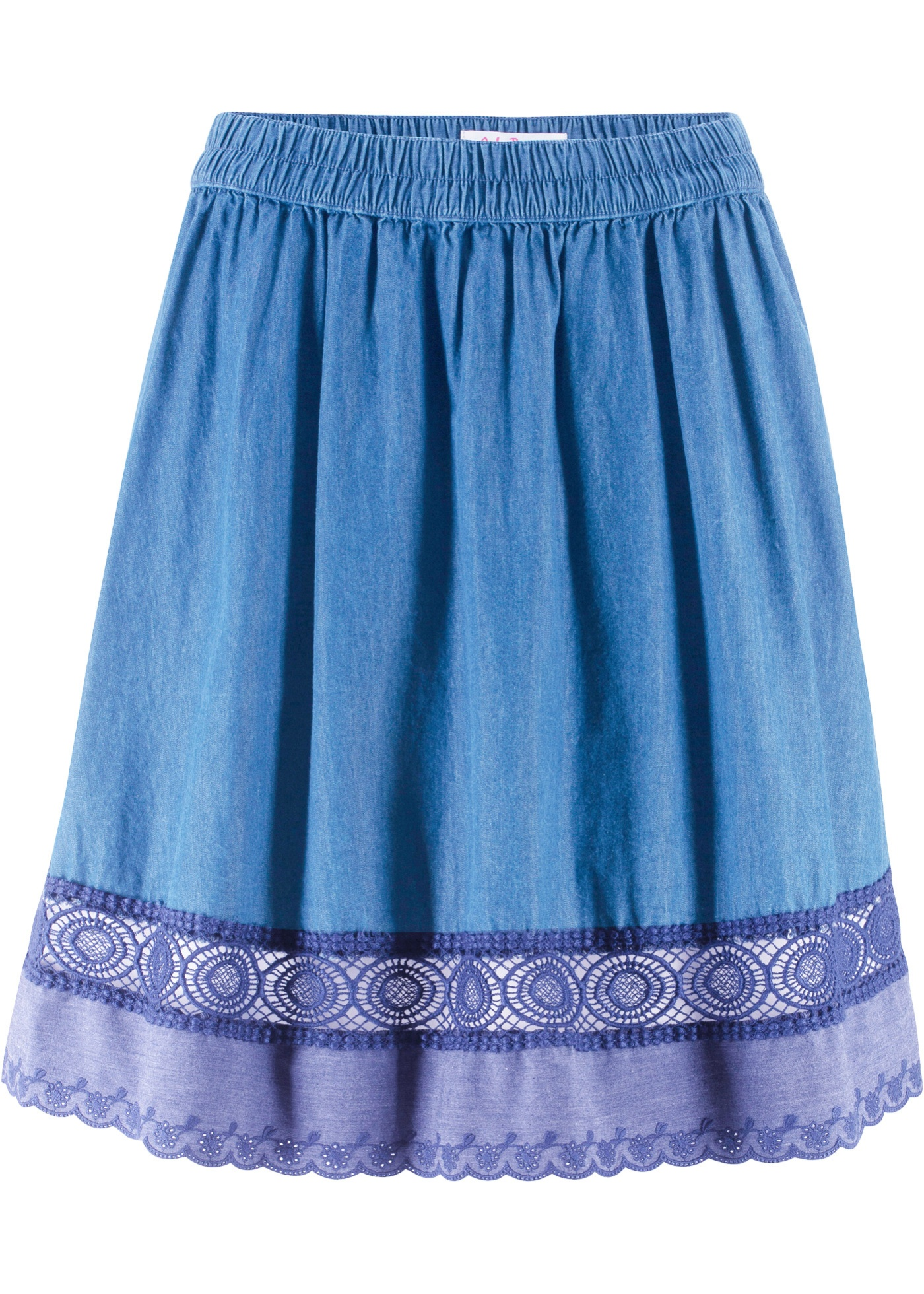 Jeansrock mit Gummizug und Spitze in blau für Damen von bonprix
