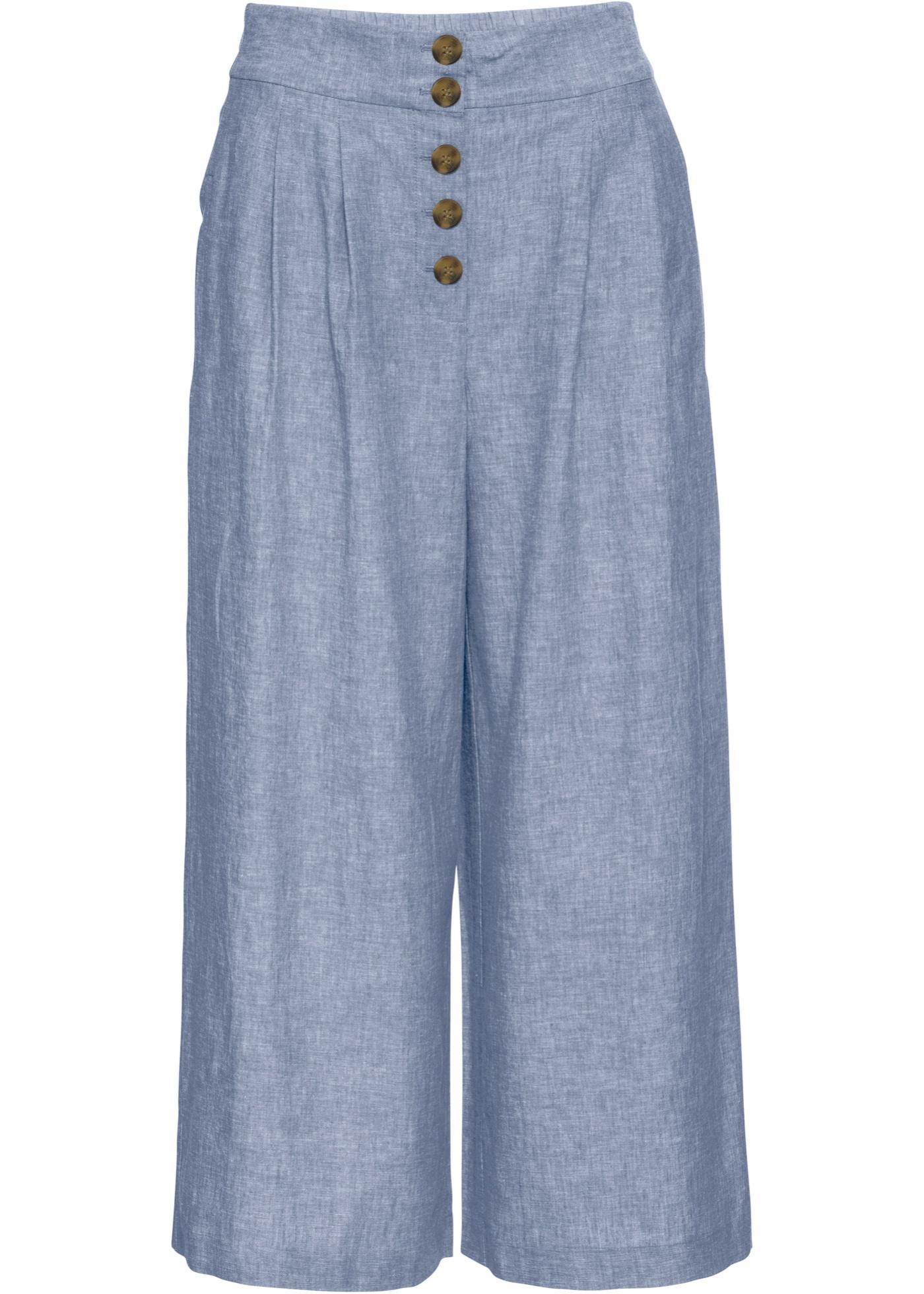 Culotte mit Knöpfen in blau für Damen von bonprix