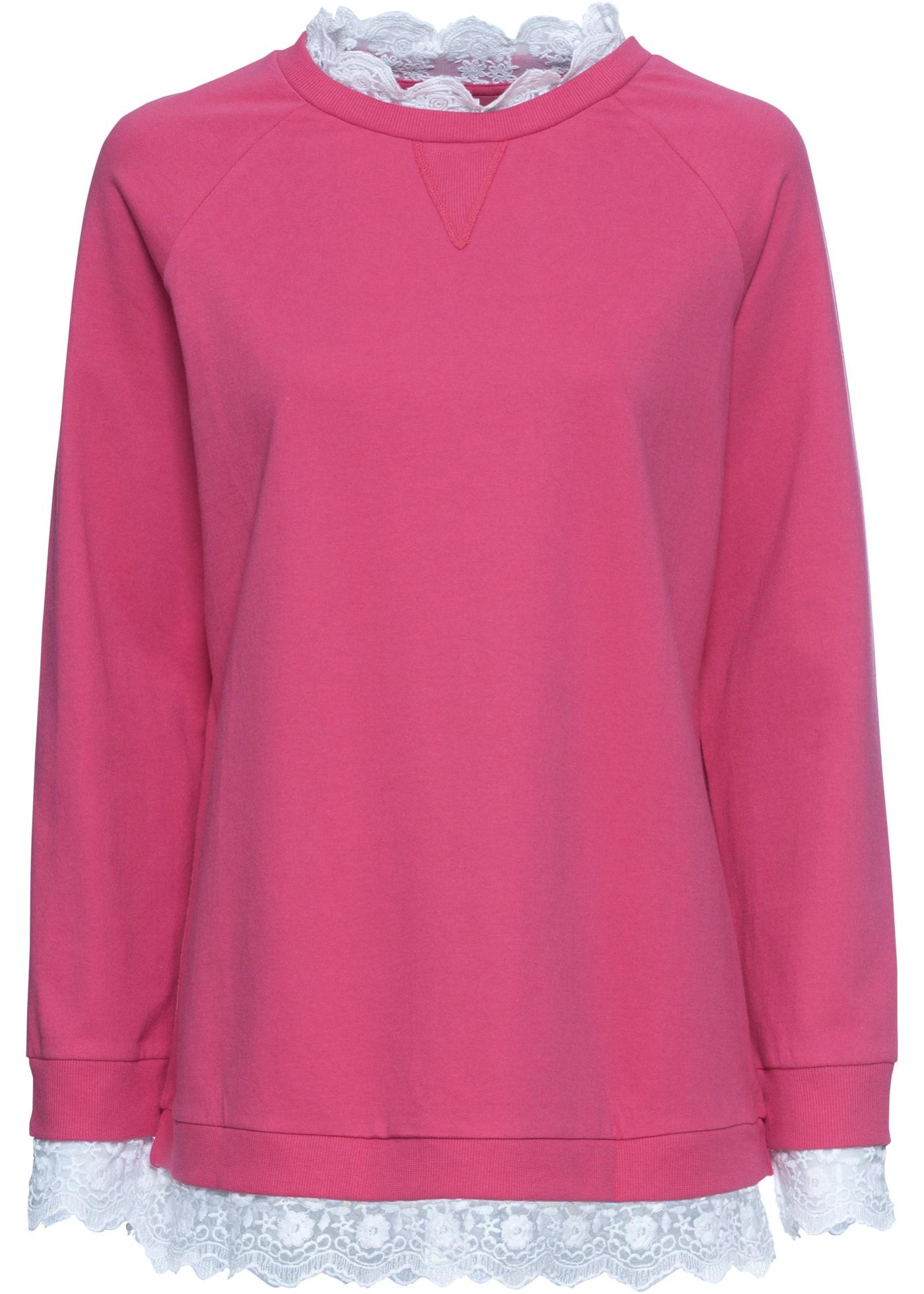 Oversize Sweatshirt mit Spitze langarm  in pink für Damen von bonprix