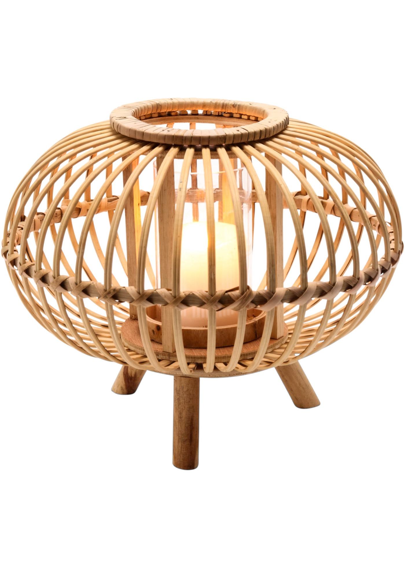 *NEU*: Windlicht aus Bambus, mit Glaseinsatz, braun