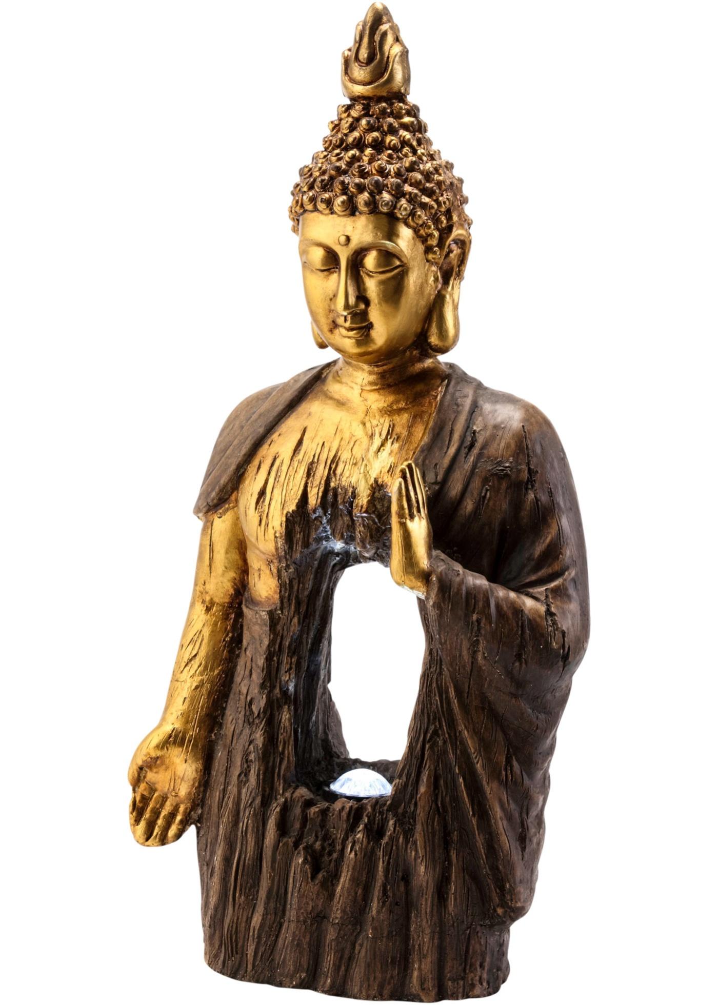 "*NEU*: Deko-Figur ""Buddha"" aus Magnesia, dunkelbraun/gold, solar"