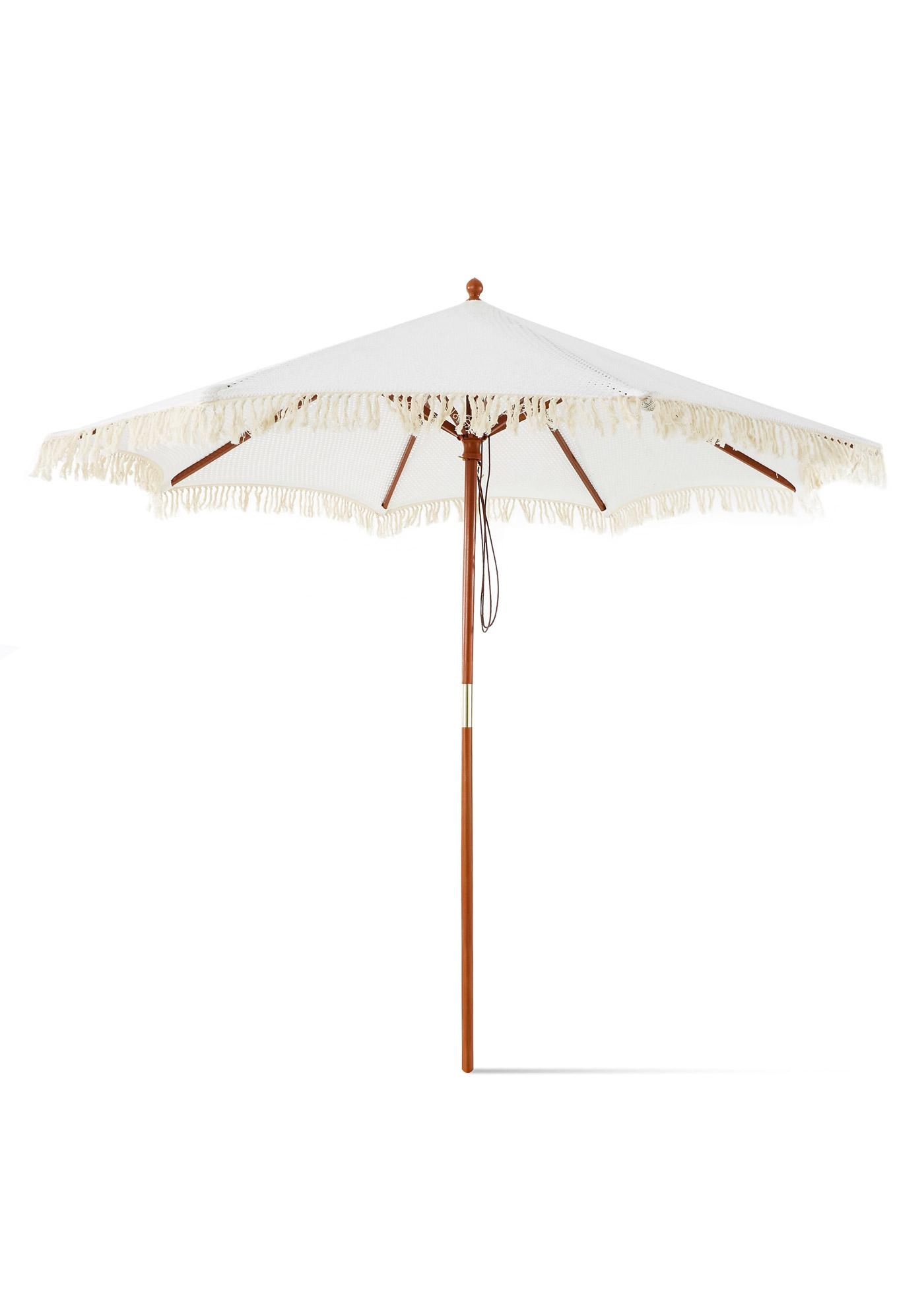 *NEU*: Sonnenschirm aus Baumwolle und Holz, creme/braun
