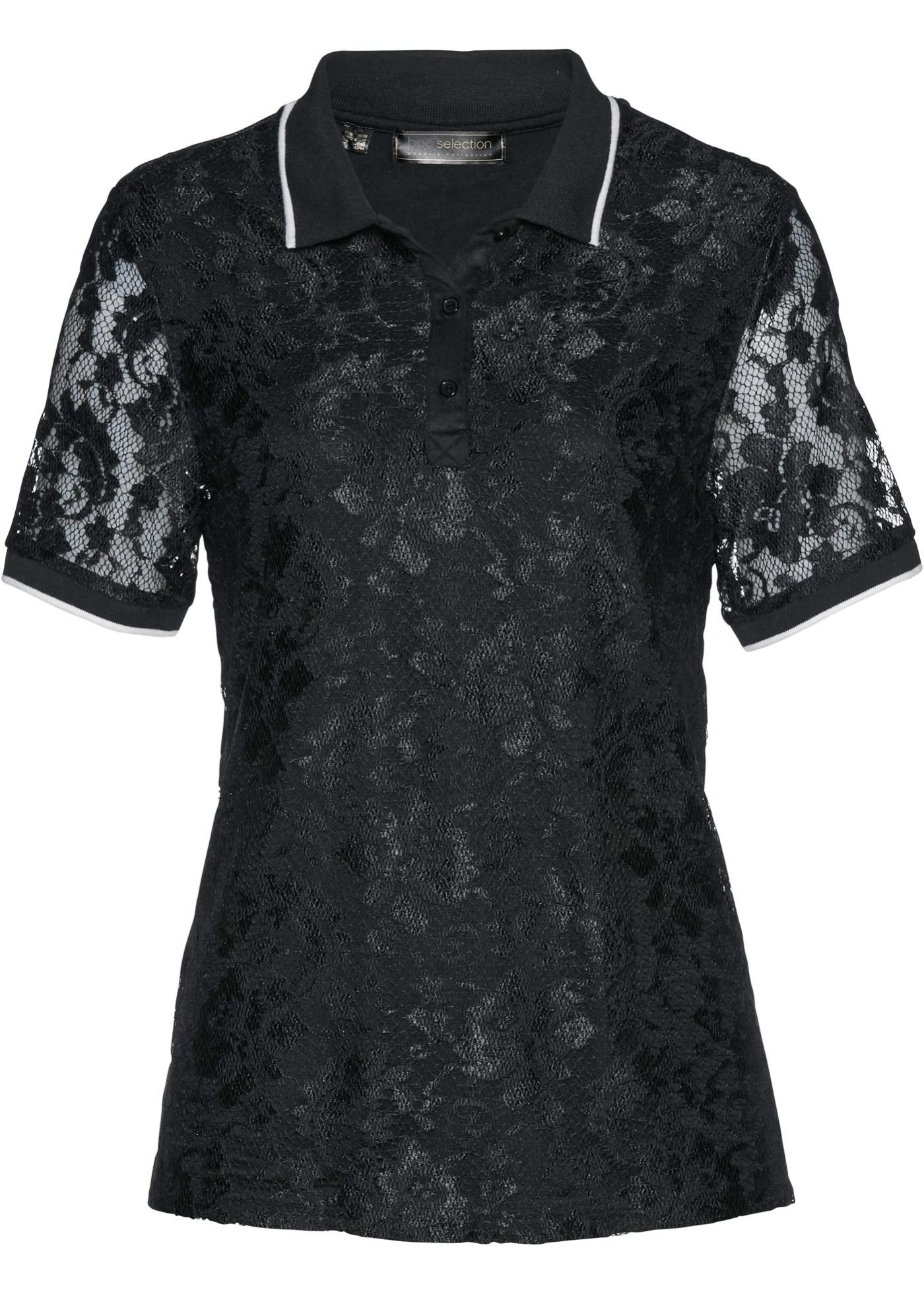 Poloshirt aus Spitze halber Arm  in schwarz für Damen von bonprix