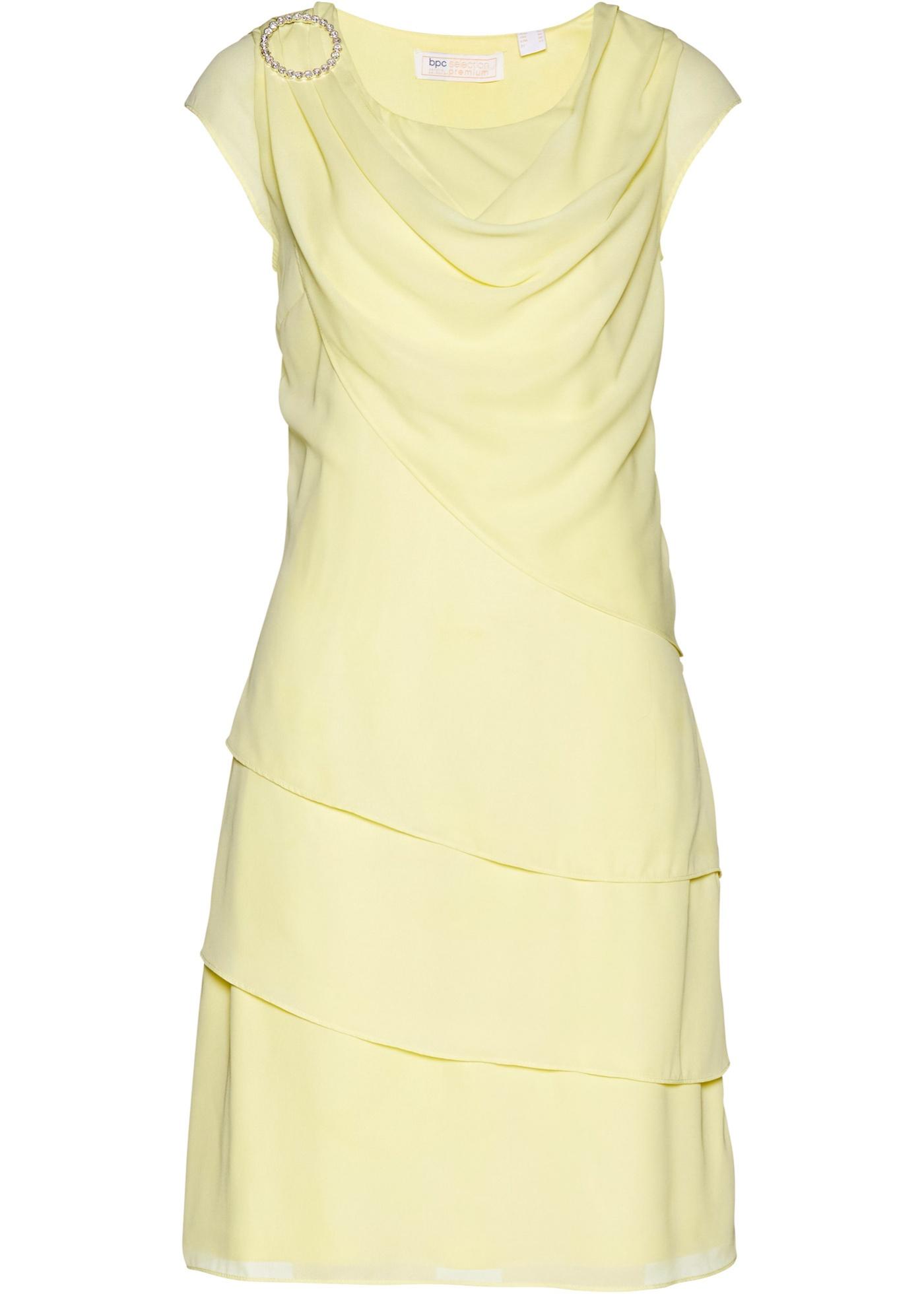 Premium Chiffonkleid im Lagenlook kurzer Arm  in gelb für Damen von bonprix