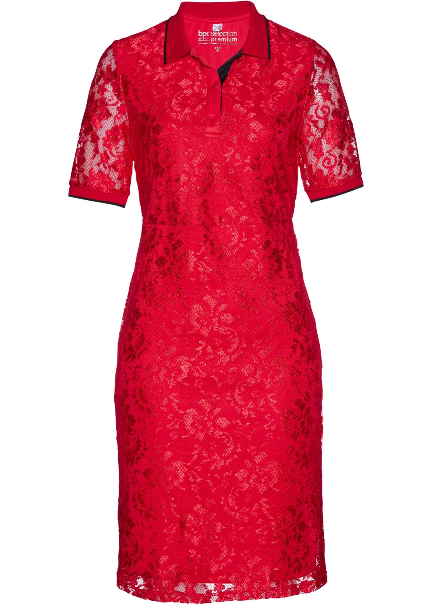 Polokleid mit Spitze halber Arm  in rot für Damen von bonprix