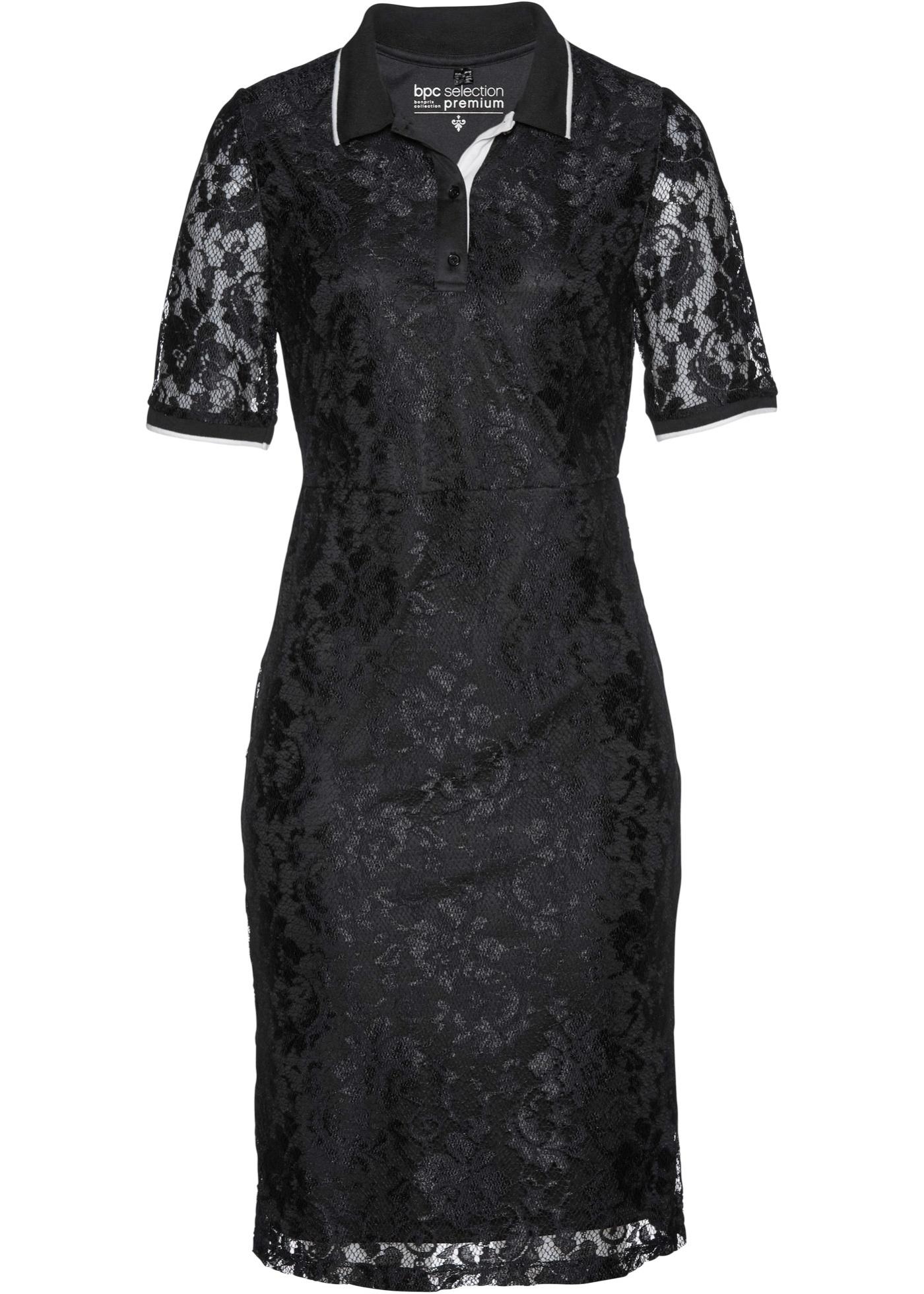 Polokleid mit Spitze halber Arm  in schwarz für Damen von bonprix