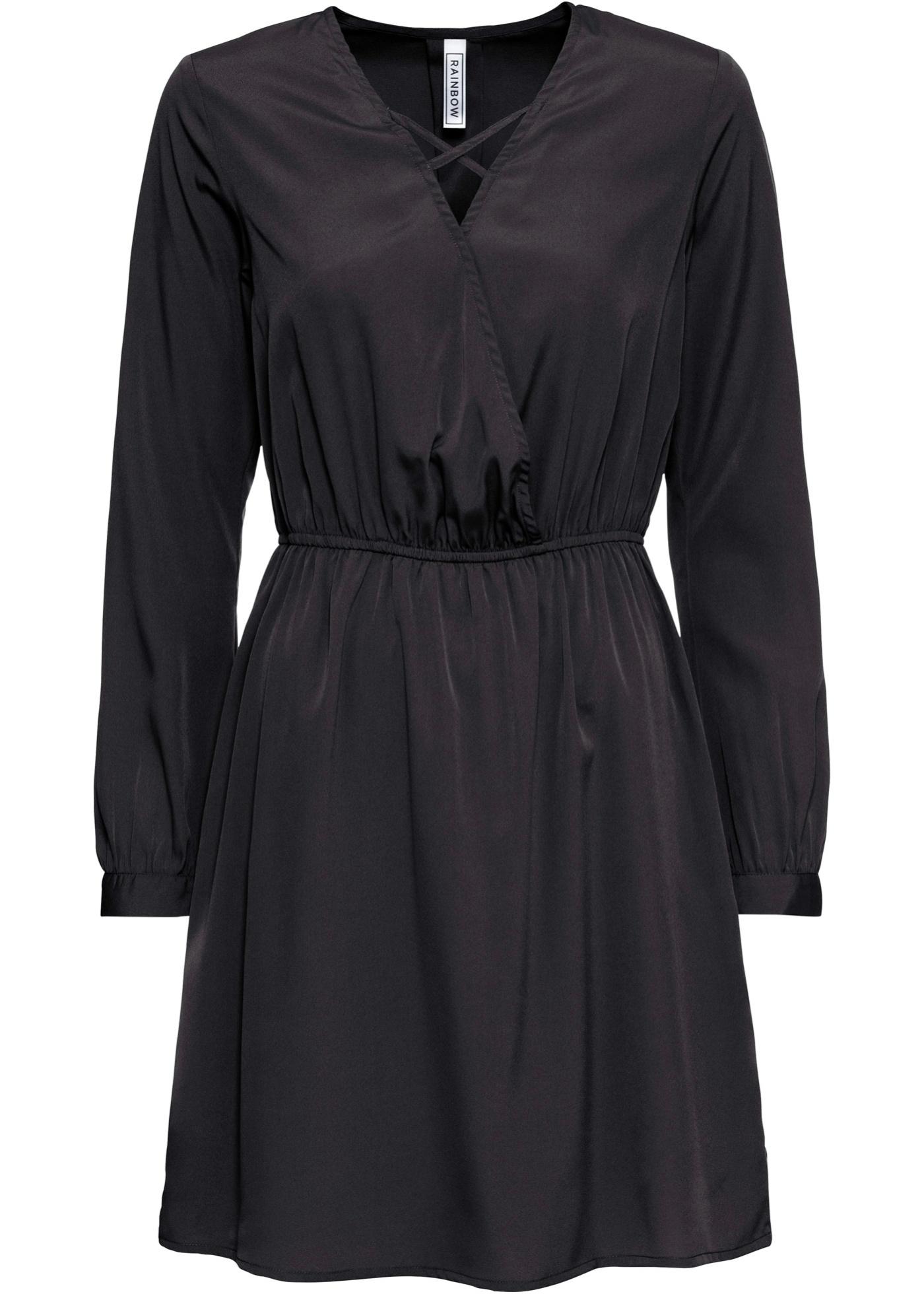 Kleid in Wickeloptik langarm  in schwarz für Damen von bonprix