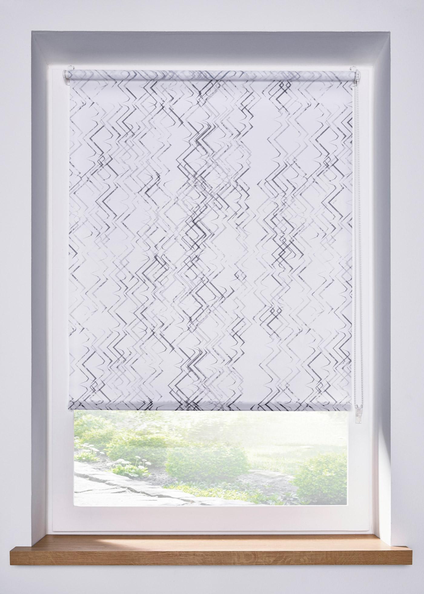 Sichtschutzrollo mit grafischem Druck in weiß von bonprix