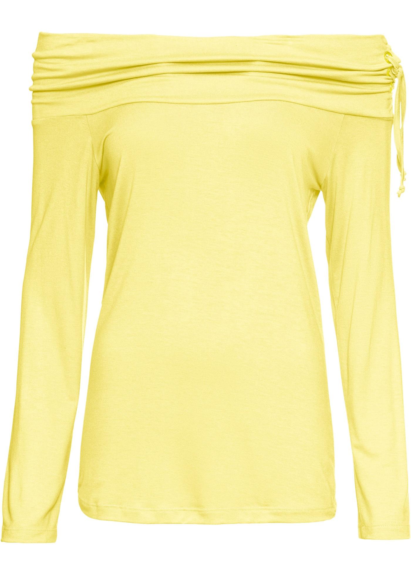 Carmenshirt mit Schnürung in gelb für Damen von bonprix