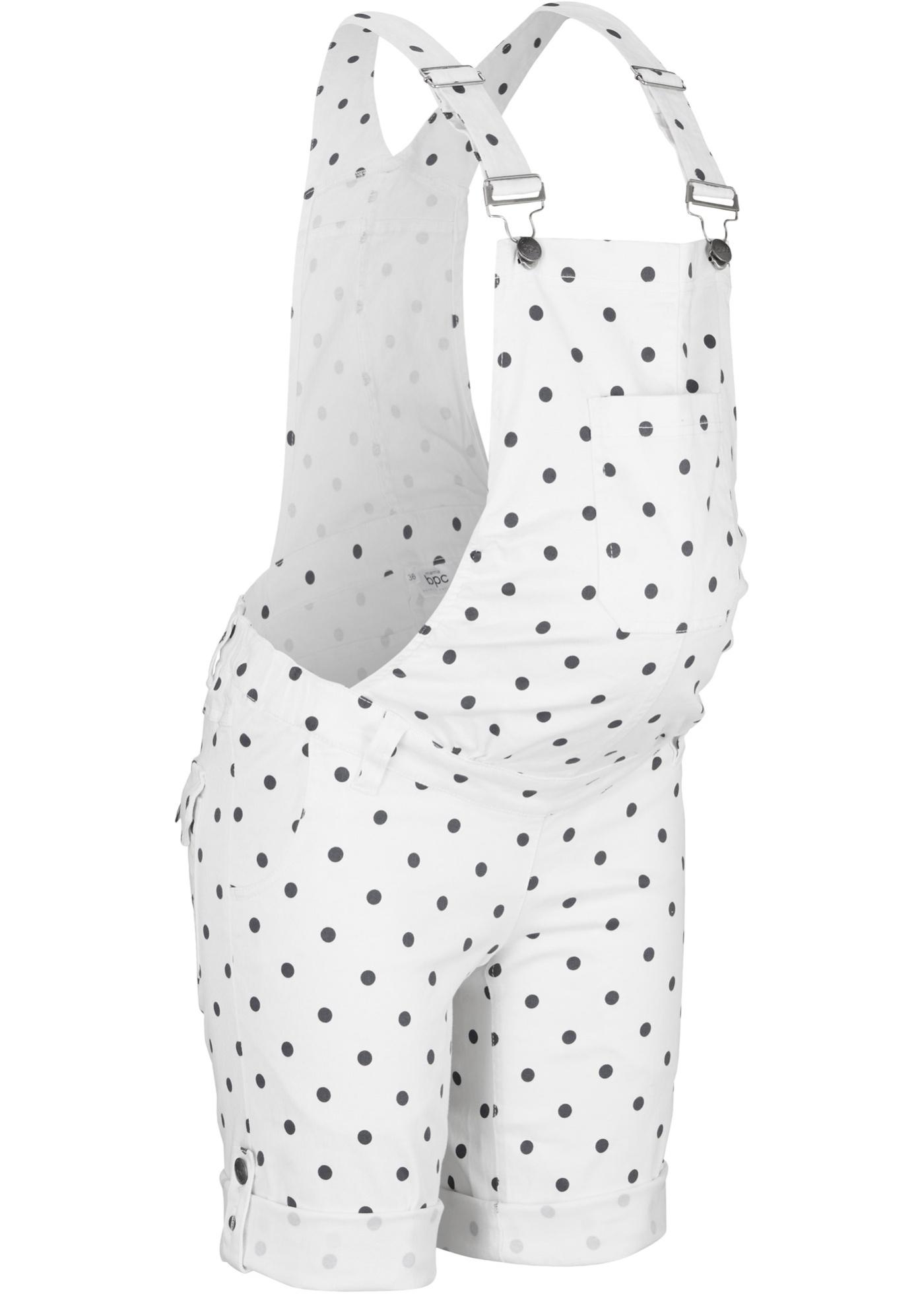 Umstandsjeans-Latzshorts in weiß für Damen von bonprix