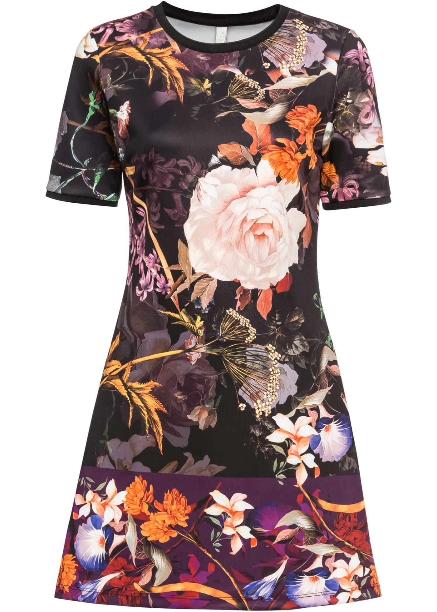 Kleid mit Blumenprint kurzer Arm  in schwarz für Damen von bonprix
