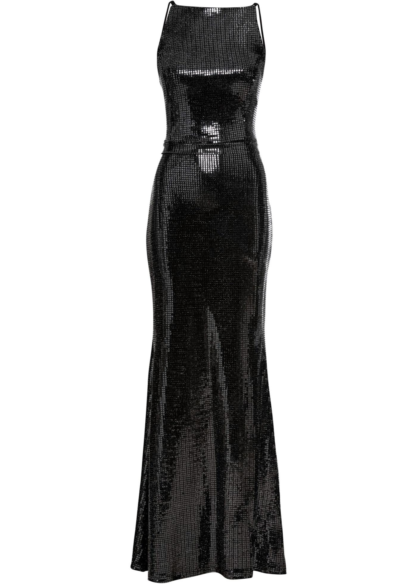 Kleid mit Pailetten ohne Ärmel  in schwarz für Damen von bonprix
