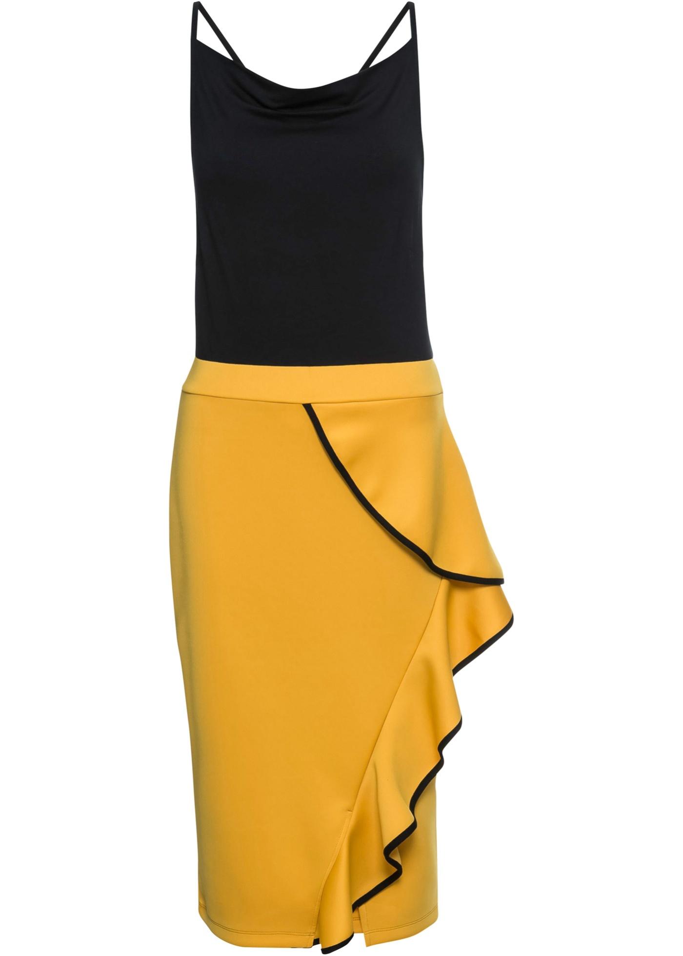 Kleid mit Volantrock ohne Ärmel  in schwarz für Damen von bonprix