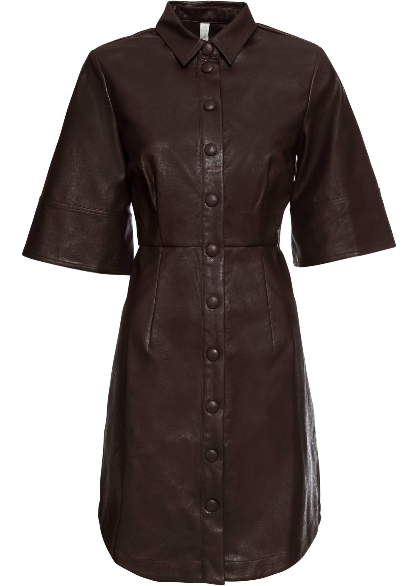 Kleid aus Lederimitat kurzer Arm  in braun für Damen von bonprix