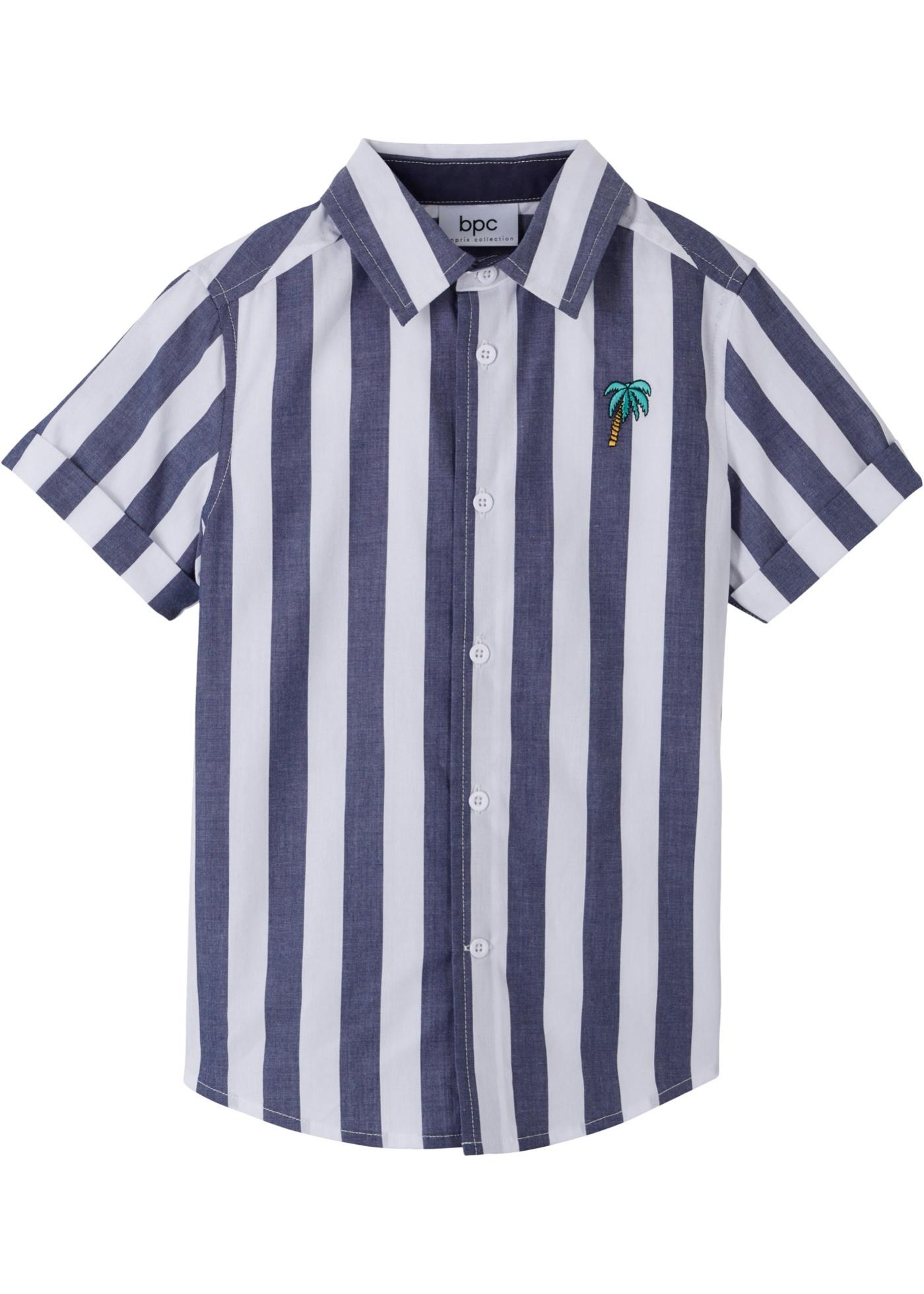 Kurzarmhemd mit Streifen in weiß für Jungen von bonprix