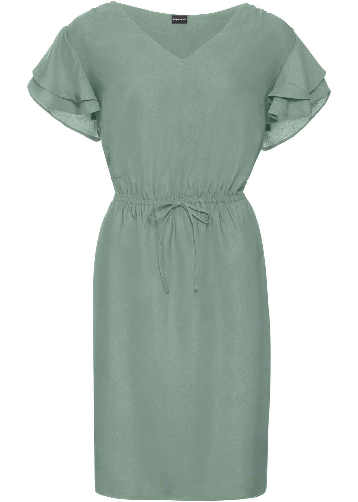 Kleid mit Flügelärmeln kurzer Arm  in grün für Damen von bonprix